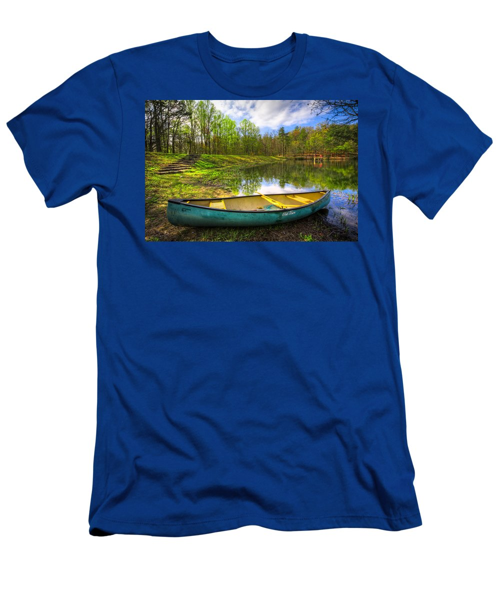 Appalachia Men's T-Shirt (Athletic Fit) featuring the photograph Canoeing At The Lake by Debra and Dave Vanderlaan
