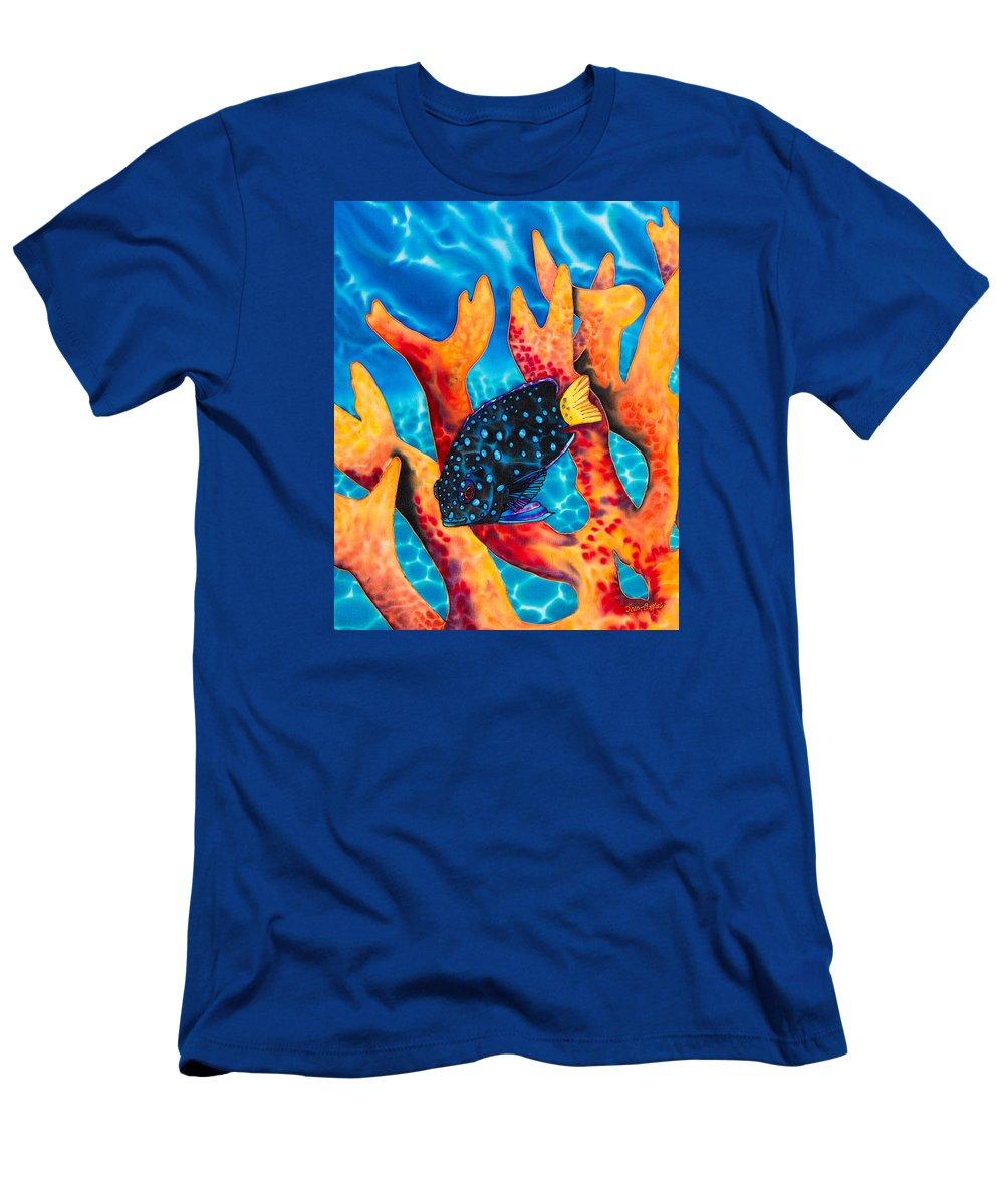 Damselfish Art Men's T-Shirt (Athletic Fit) featuring the painting Caribbean Damselfish by Daniel Jean-Baptiste
