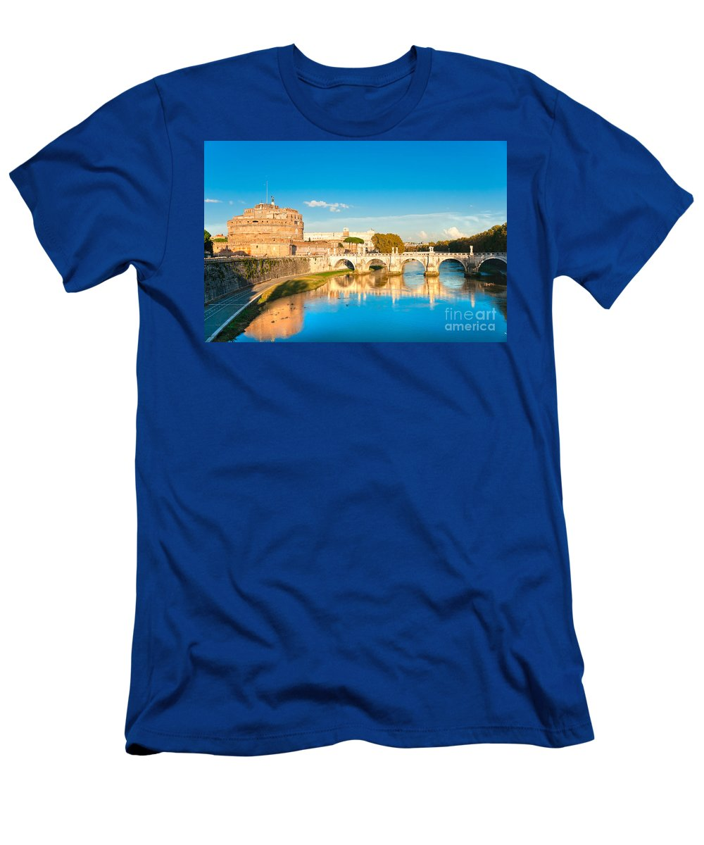Angel Men's T-Shirt (Athletic Fit) featuring the photograph Castel Sant'angelo - Rome by Luciano Mortula