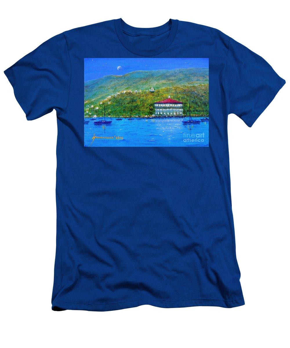 Catalina Men's T-Shirt (Athletic Fit) featuring the painting Catalina Island Night by Jerome Stumphauzer