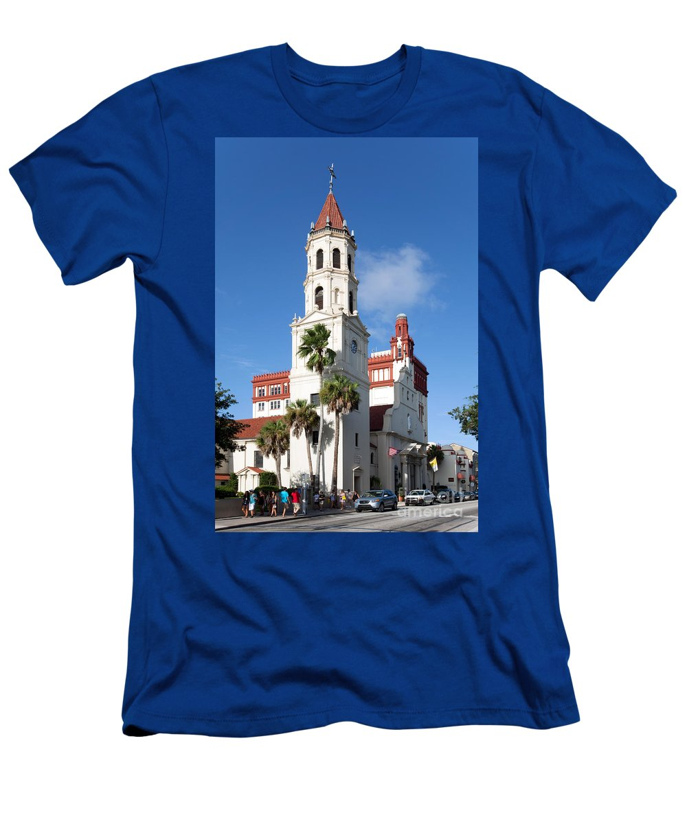 Basilica Men's T-Shirt (Athletic Fit) featuring the photograph Cathedral Basilica Of St. Augustine by Bill Cobb