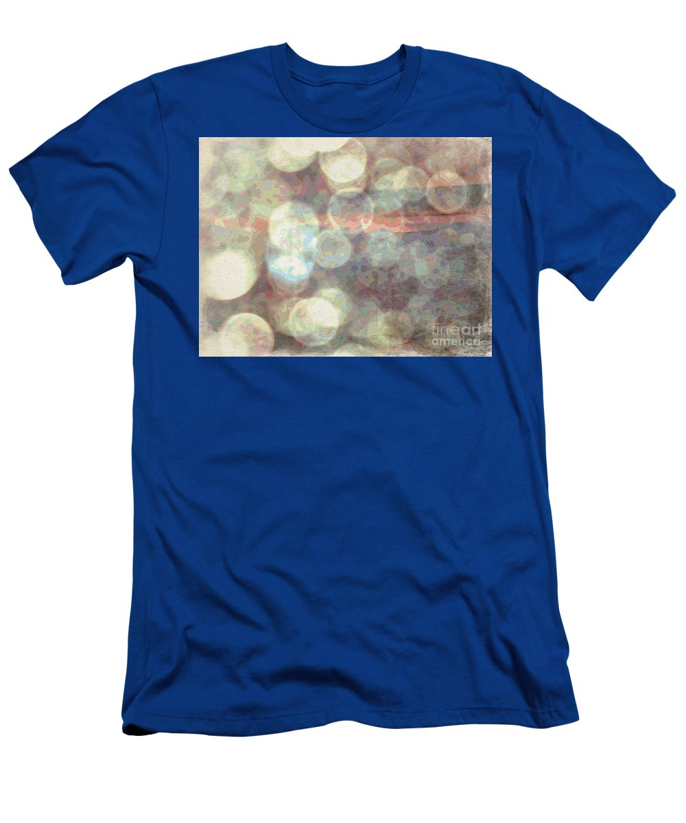 Raindrops (or Champagne Bubbles If You Prefer) Men's T-Shirt (Athletic Fit) featuring the photograph Champagne Bubbles And Sunset by Phyllis Kaltenbach