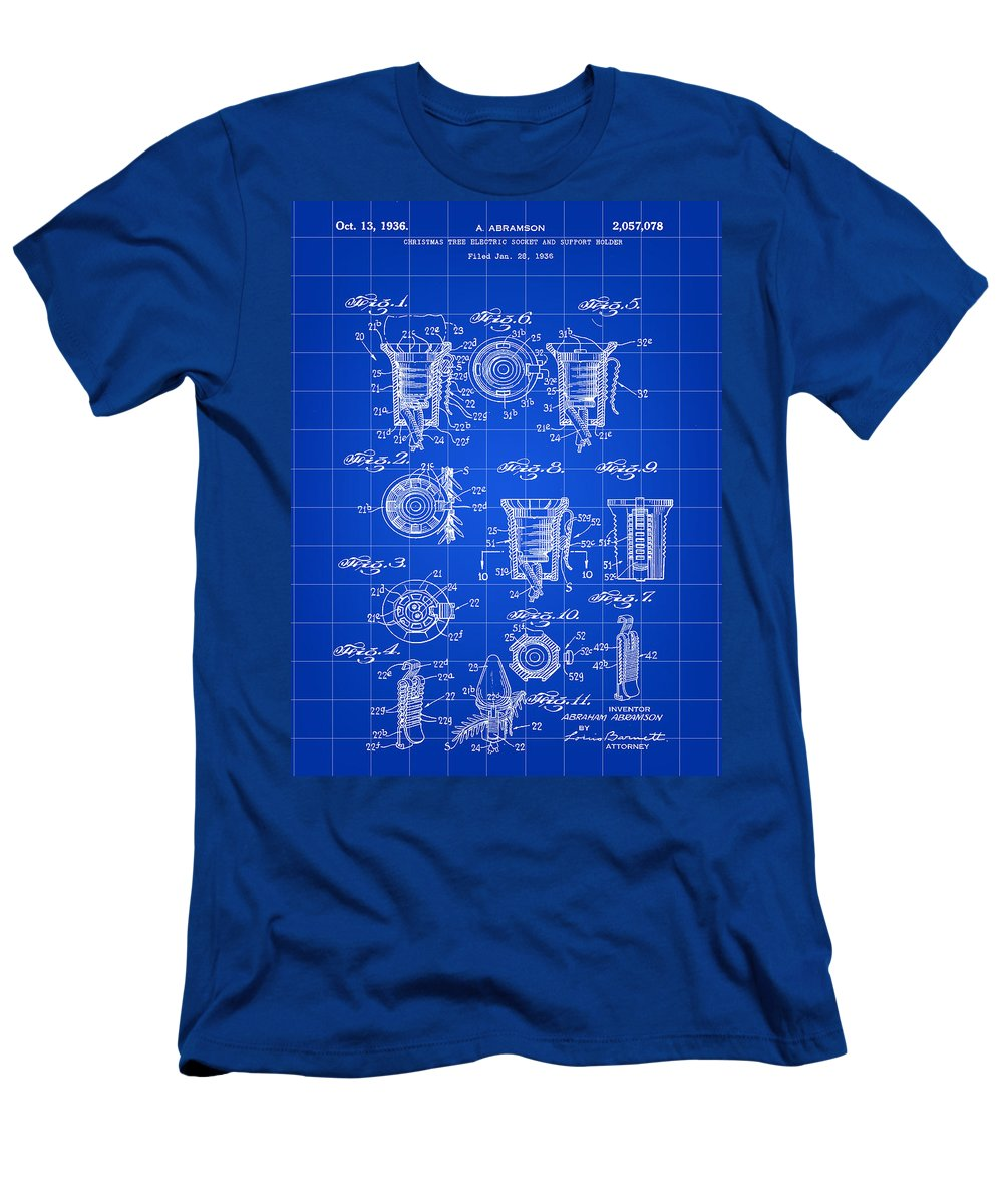 Christmas Men's T-Shirt (Athletic Fit) featuring the digital art Christmas Bulb Socket Patent 1936 - Blue by Stephen Younts