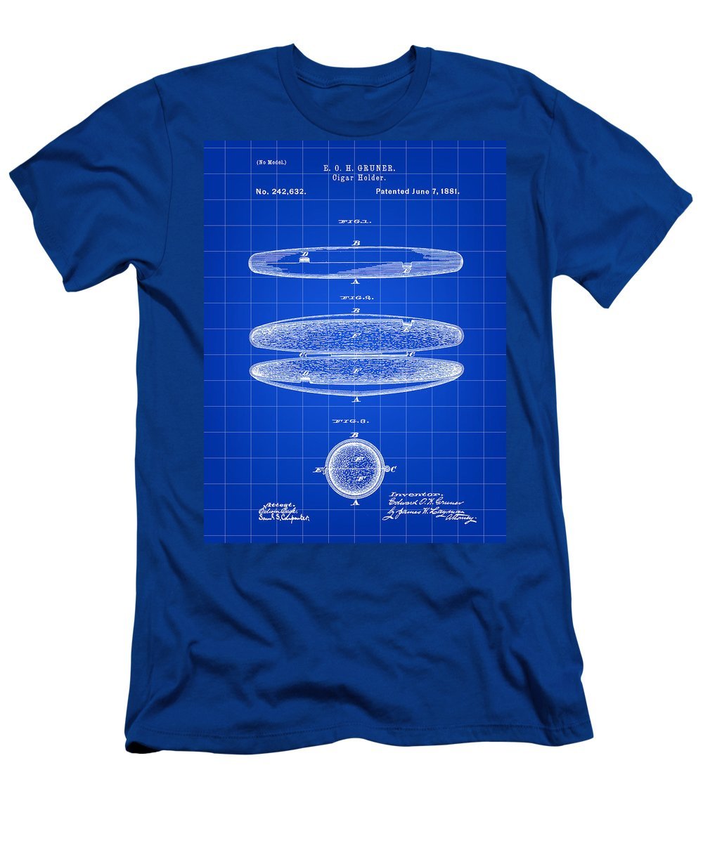 Cigar Men's T-Shirt (Athletic Fit) featuring the digital art Cigar Holder Patent 1881 - Blue by Stephen Younts