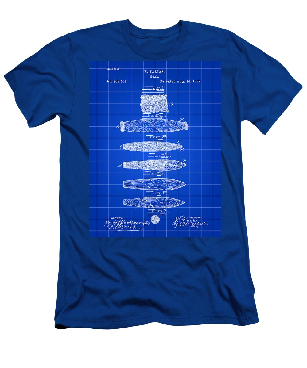 Cigar Men's T-Shirt (Athletic Fit) featuring the digital art Cigar Patent 1887 - Blue by Stephen Younts