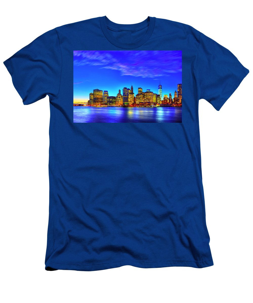 Dumbo. Manhattan Men's T-Shirt (Athletic Fit) featuring the photograph City Blue by Midori Chan