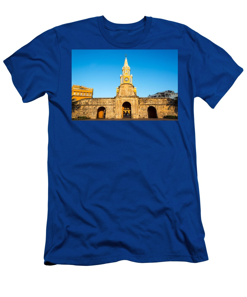 Cartagena Men's T-Shirt (Athletic Fit) featuring the photograph Clock Tower Gate by Jess Kraft