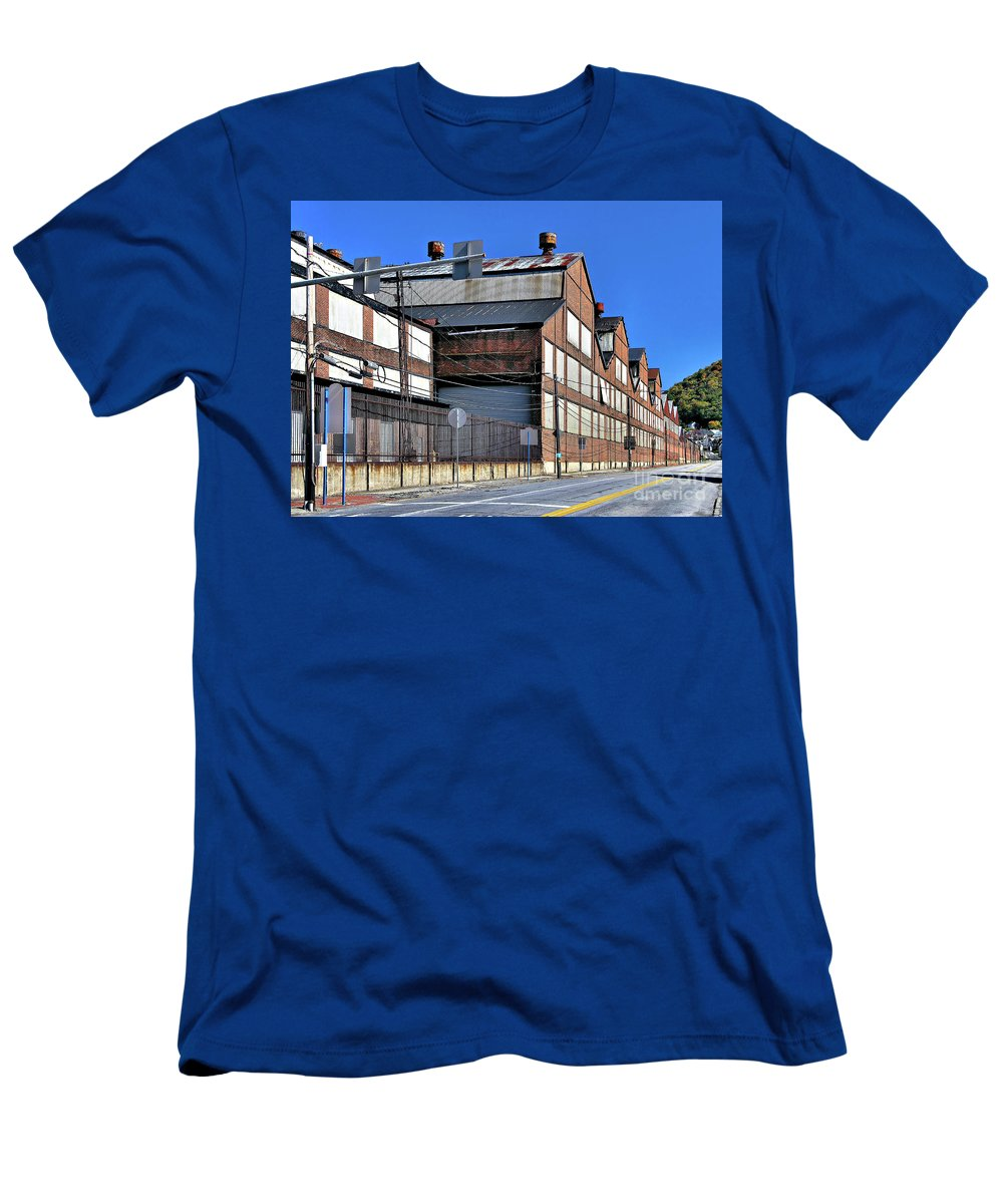 Closed Men's T-Shirt (Athletic Fit) featuring the photograph Closed Steel Mill by John Waclo
