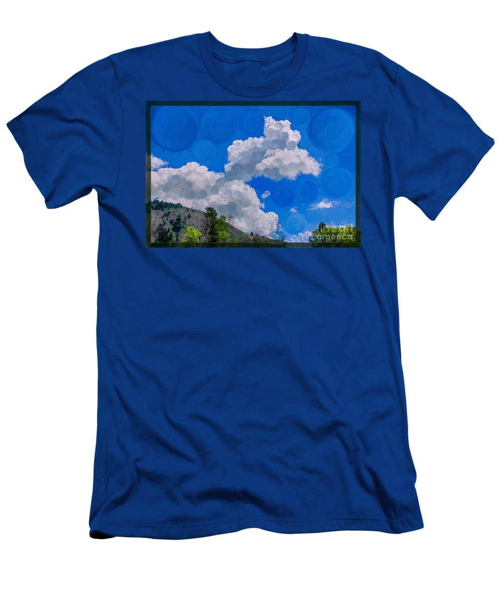Clouds Loving A Friendly Mountain Landscape Painting Men's T-Shirt (Athletic Fit) featuring the painting Clouds Loving A Friendly Mountain Landscape Painting by Omaste Witkowski