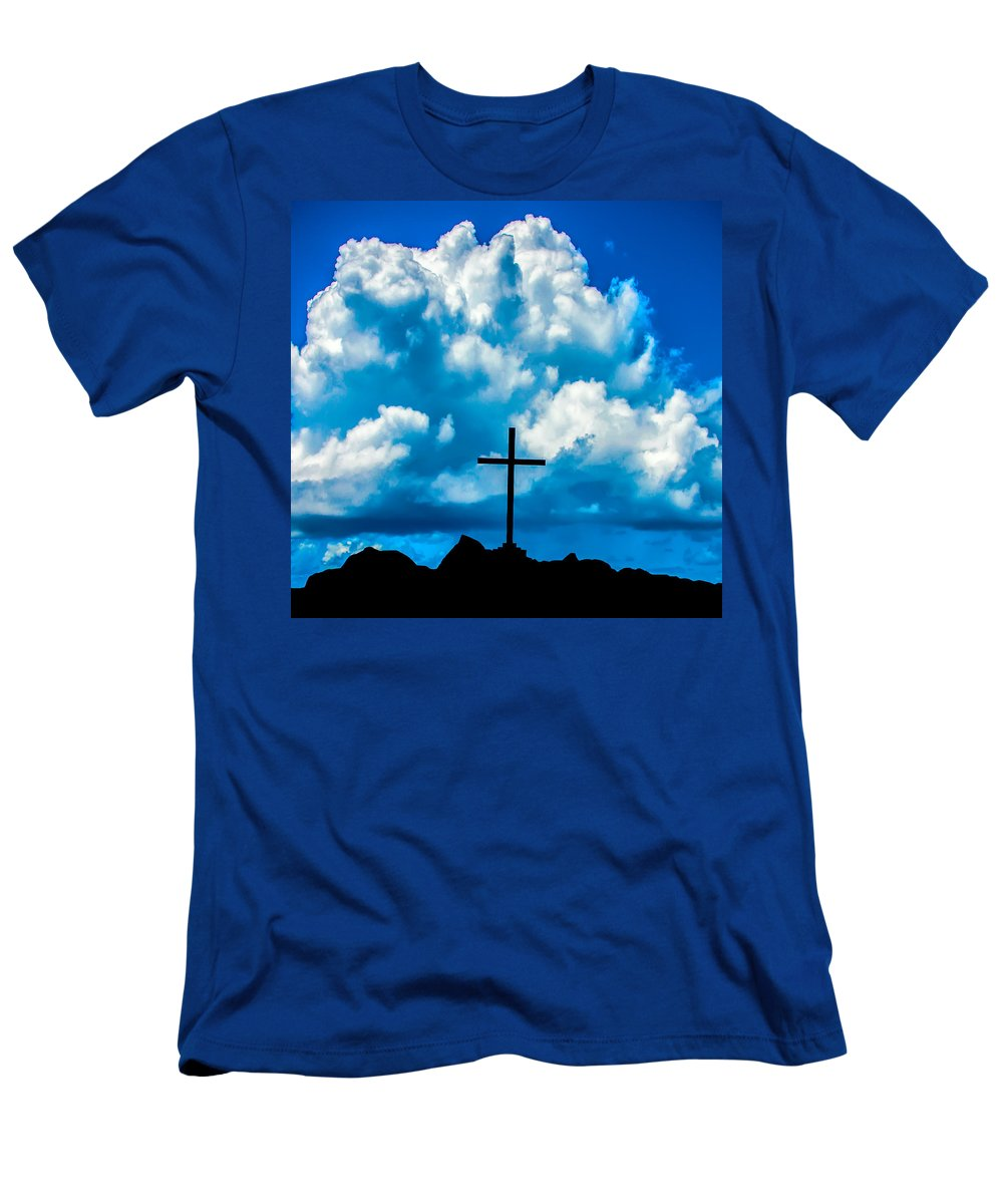 Cross Men's T-Shirt (Athletic Fit) featuring the photograph Cloudy Cross by Alex Hiemstra