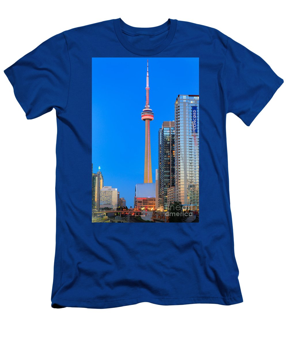 America T-Shirt featuring the photograph CN Tower by Night by Inge Johnsson