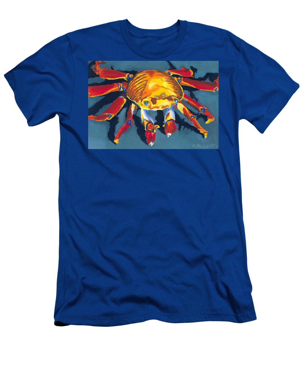 Crab Men's T-Shirt (Athletic Fit) featuring the painting Colorful Crab by Stephen Anderson