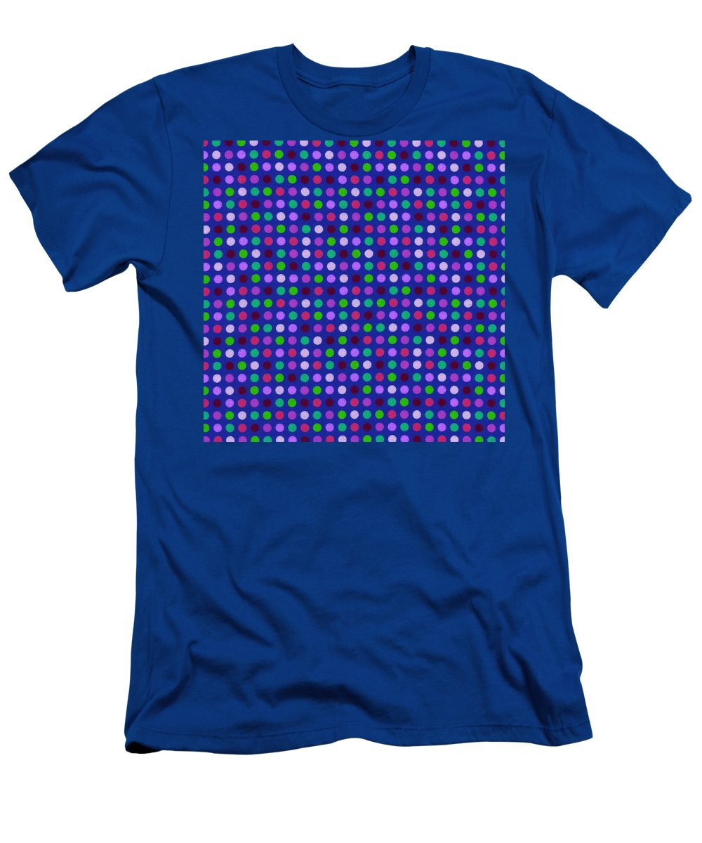 Polka Dots Men's T-Shirt (Athletic Fit) featuring the photograph Colorful Polka Dots On Blue Fabric Background by Keith Webber Jr