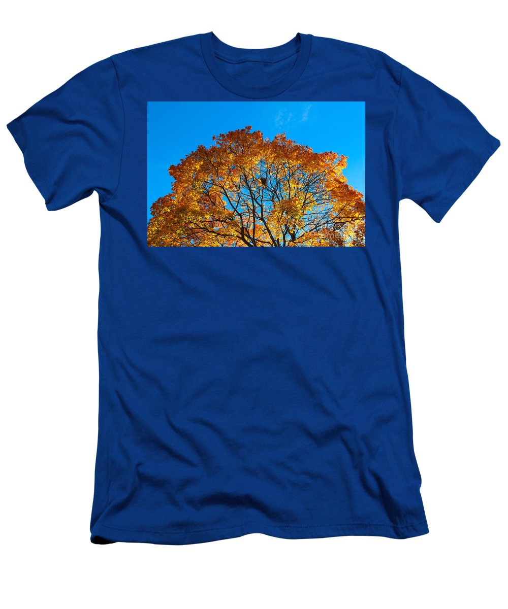Autumn Men's T-Shirt (Athletic Fit) featuring the photograph Colourful Autumn Tree Against Blue Sky by Kerstin Ivarsson