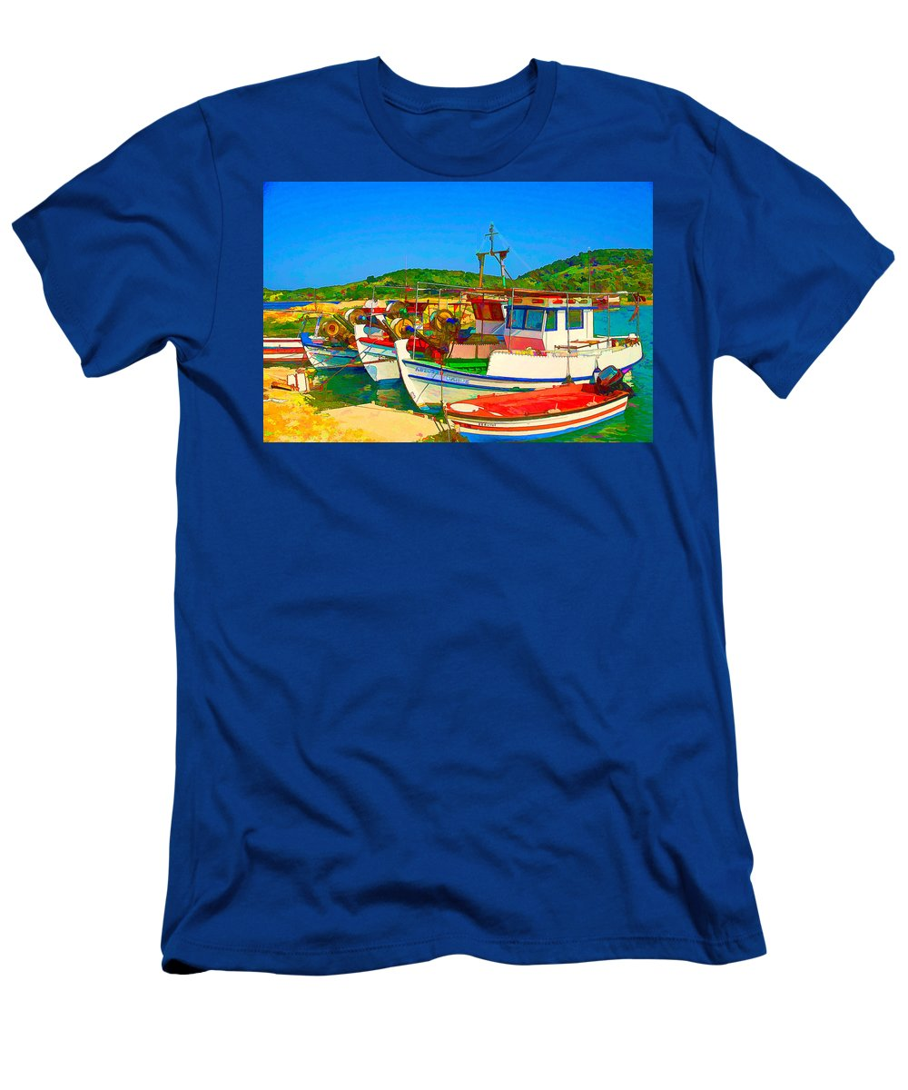 Europe Men's T-Shirt (Athletic Fit) featuring the digital art Colourful Boats by Roy Pedersen