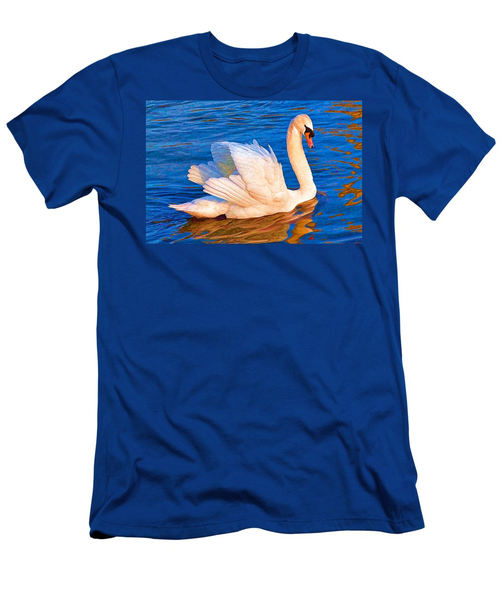 Swan Men's T-Shirt (Athletic Fit) featuring the digital art Colourful Swan by Roy Pedersen