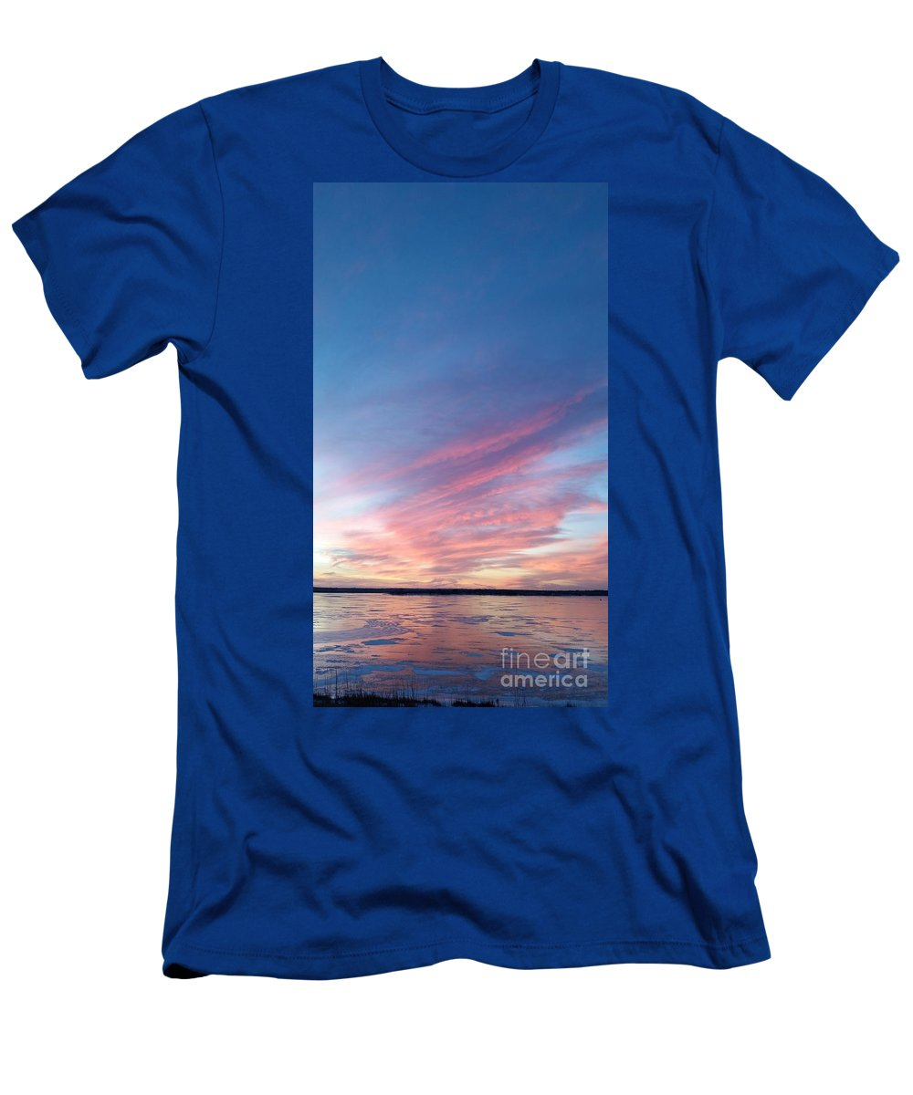 Branched Oak Lake Men's T-Shirt (Athletic Fit) featuring the photograph Cool End To The Day by Caryl J Bohn