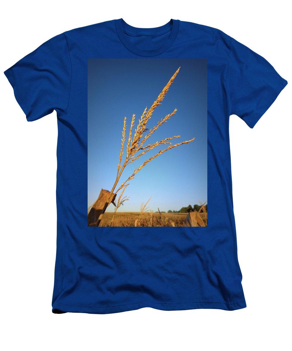 Joseph Skompski Men's T-Shirt (Athletic Fit) featuring the photograph Corn Tassel by Joseph Skompski