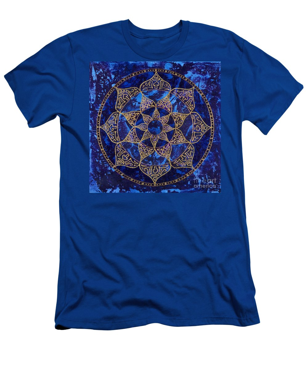 Mandala Men's T-Shirt (Athletic Fit) featuring the painting Cosmic Blue Lotus by Charlotte Backman