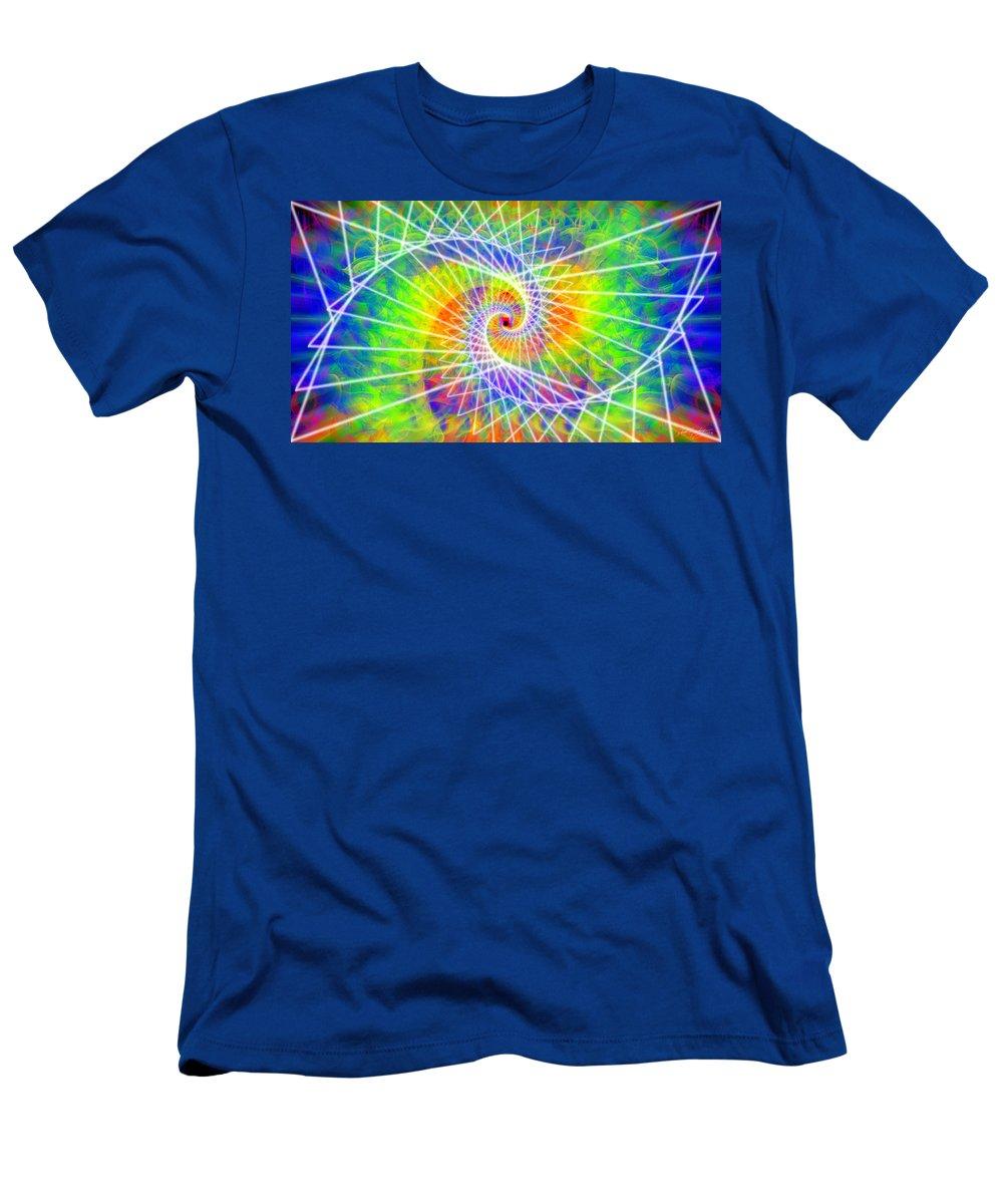 Cosmic Spiral Ascension Men's T-Shirt (Athletic Fit) featuring the digital art Cosmic Spiral Ascension 03 by Derek Gedney
