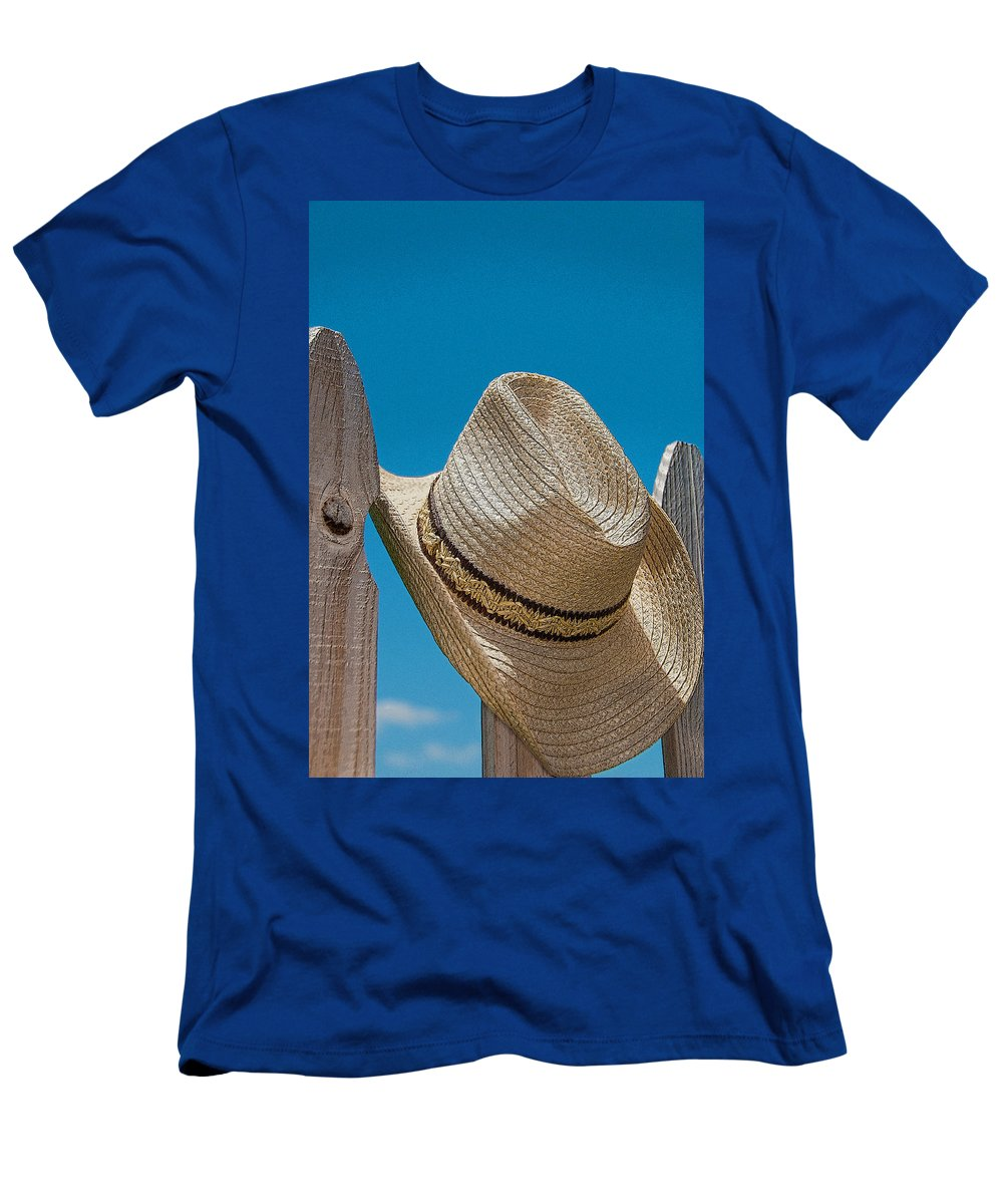 Hat Men's T-Shirt (Athletic Fit) featuring the photograph Cowboy Days by Charles Beeler