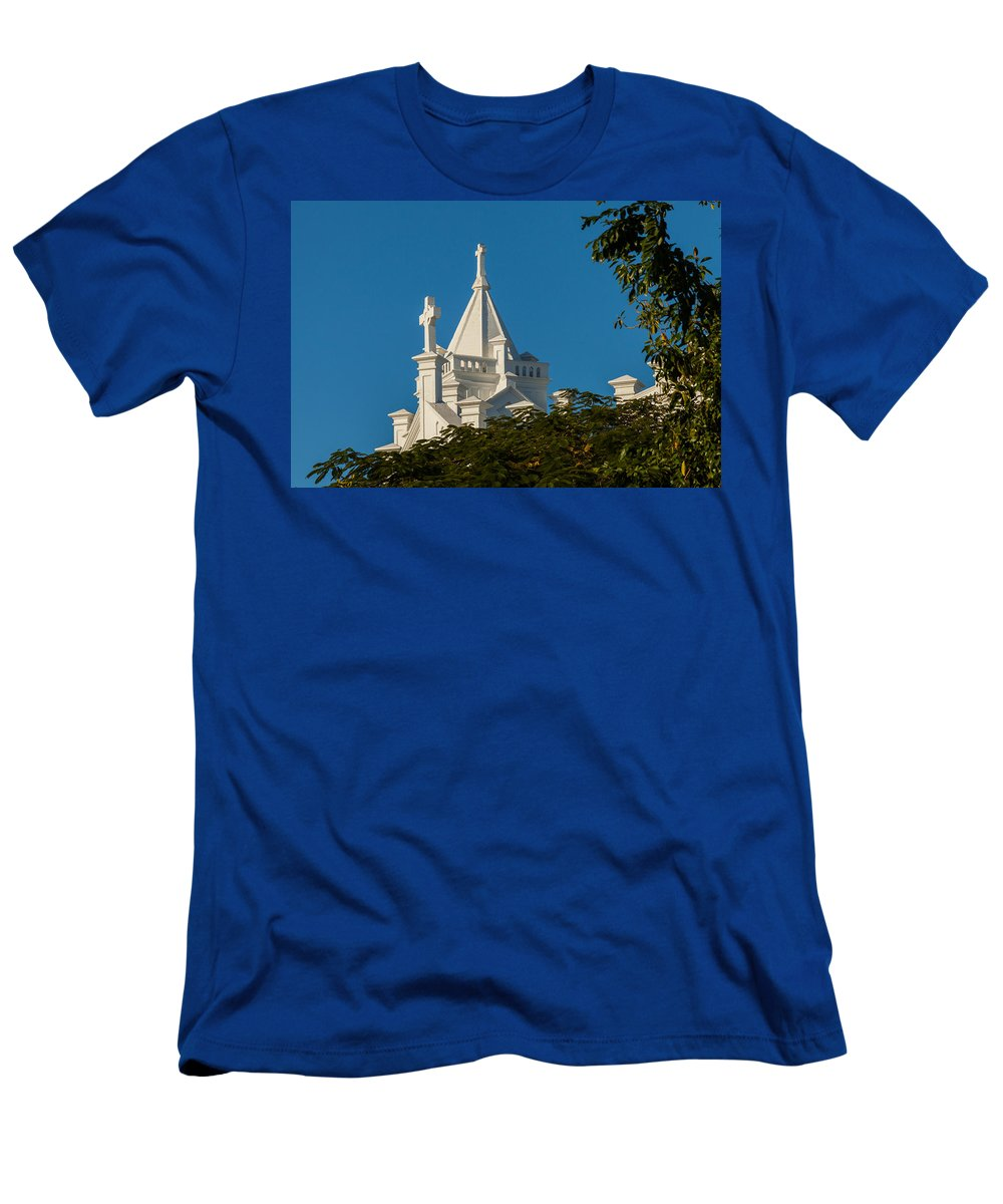 1919 Men's T-Shirt (Athletic Fit) featuring the photograph Crosses Above The Trees by Ed Gleichman