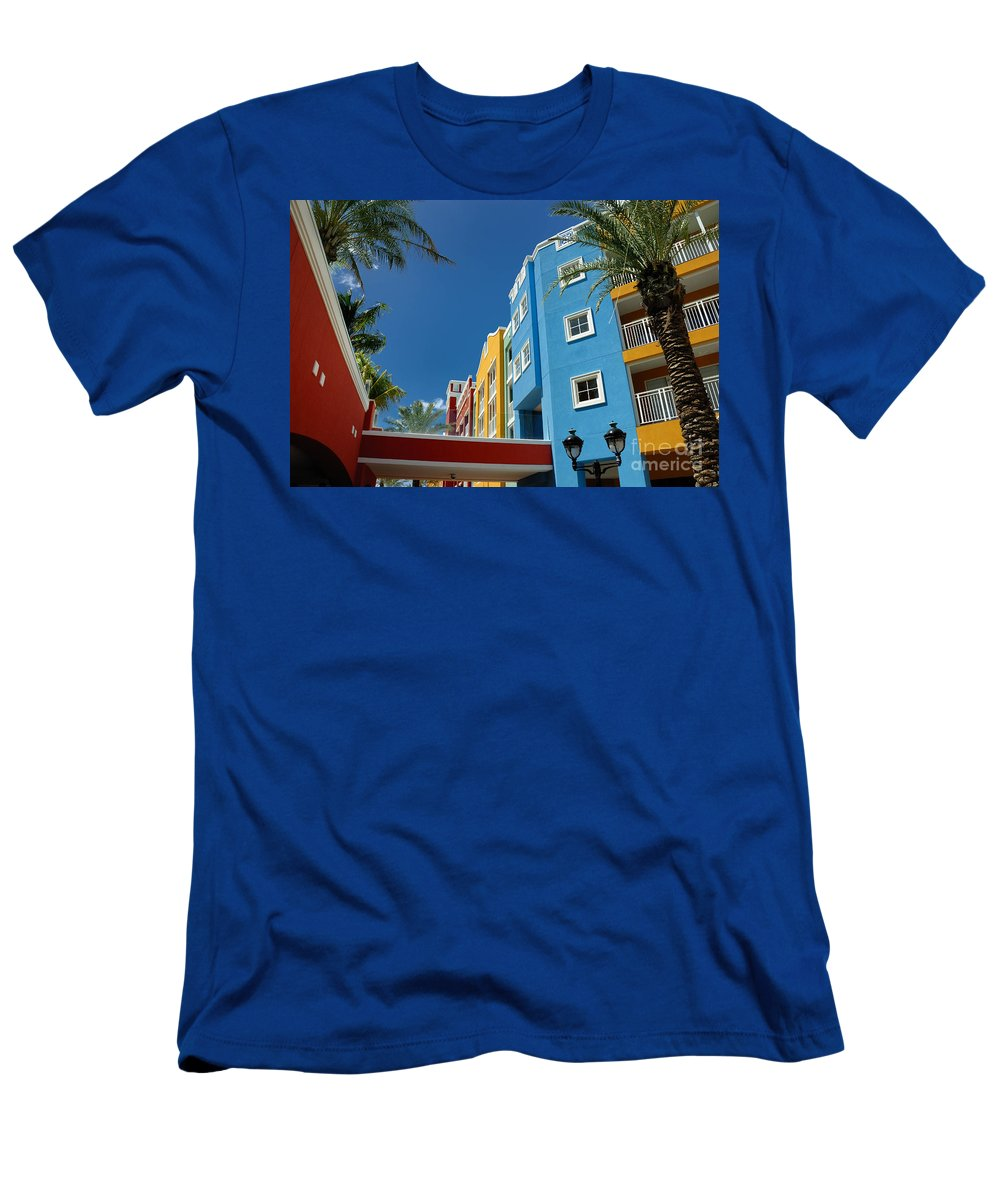 Willemstad Men's T-Shirt (Athletic Fit) featuring the photograph Curacaos Colorful Architecture by Amy Cicconi