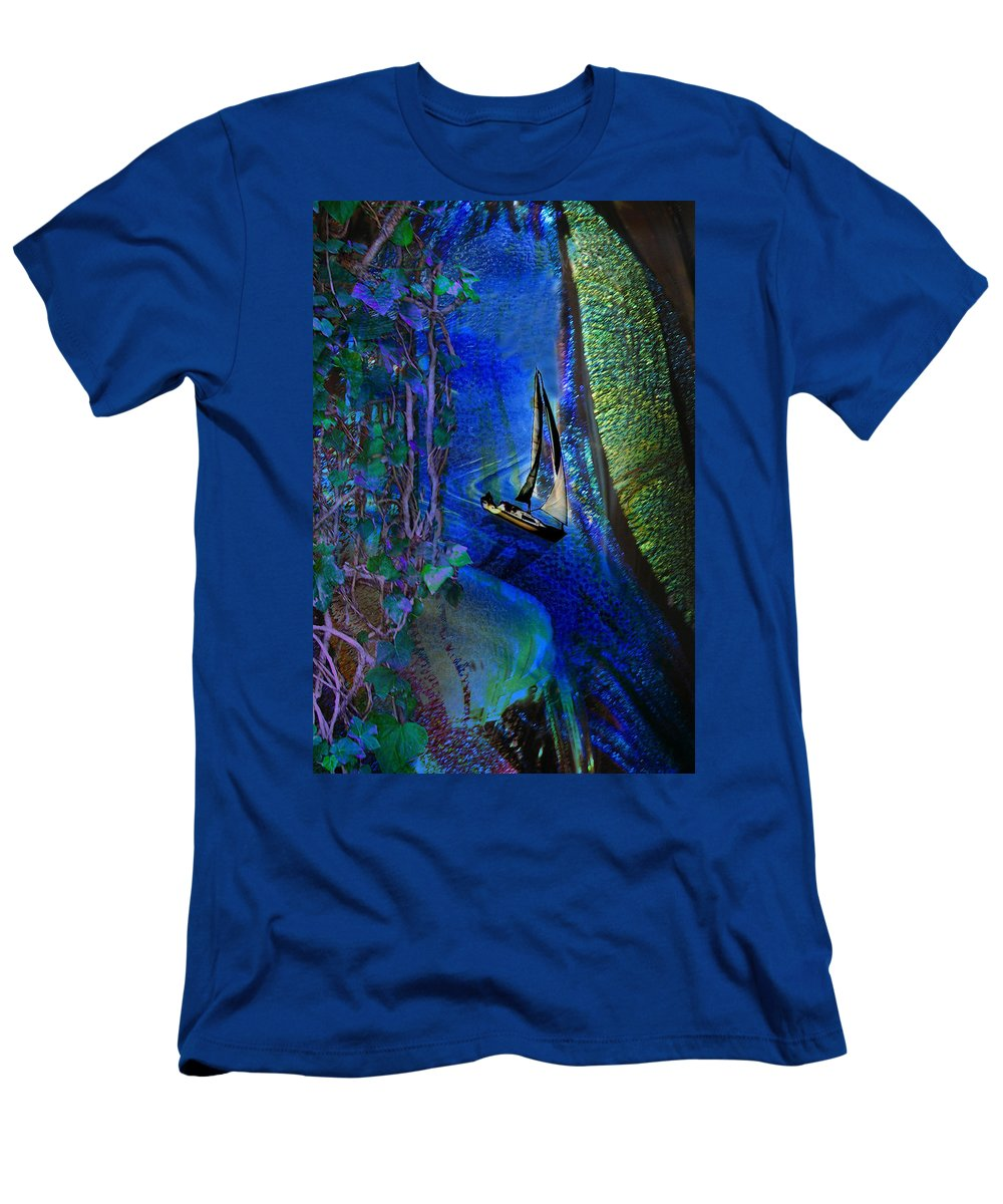 Dark River Men's T-Shirt (Athletic Fit) featuring the digital art Dark River by Lisa Yount