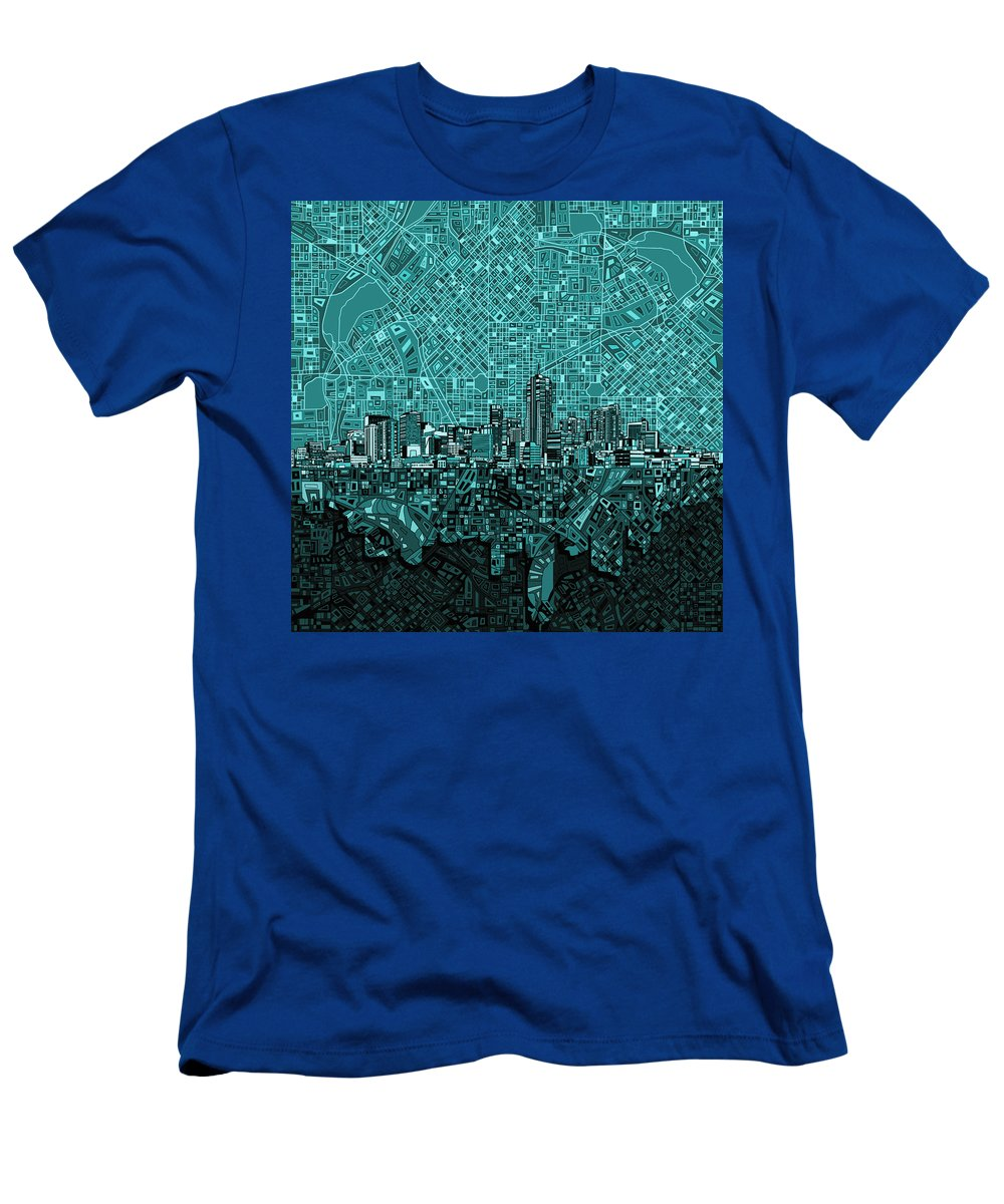 Denver Skyline Men's T-Shirt (Athletic Fit) featuring the painting Denver Skyline Abstract 5 by Bekim Art