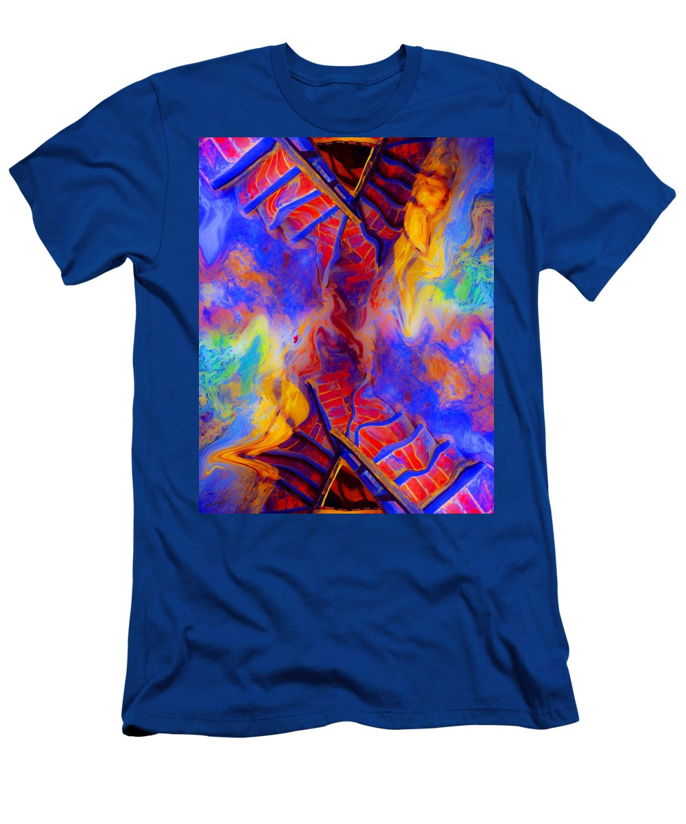 Steps Men's T-Shirt (Athletic Fit) featuring the painting Descent by Stephen Anderson