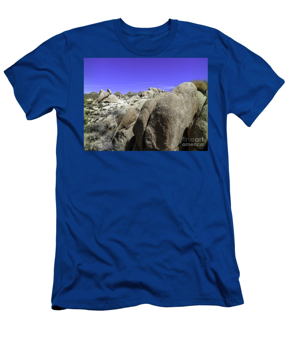 Lovejoy Men's T-Shirt (Athletic Fit) featuring the photograph Desert Bolders by Lovejoy Creations