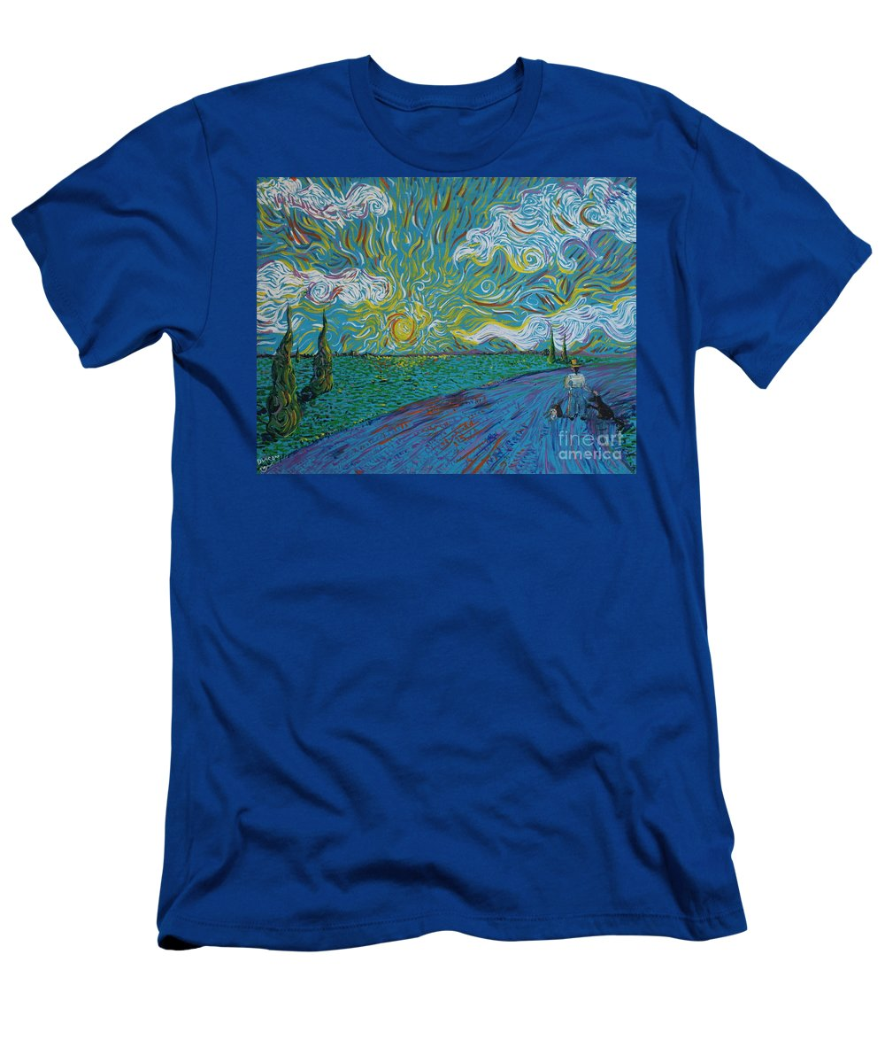 Landscape Men's T-Shirt (Athletic Fit) featuring the painting Duncan And Haggis by Stefan Duncan