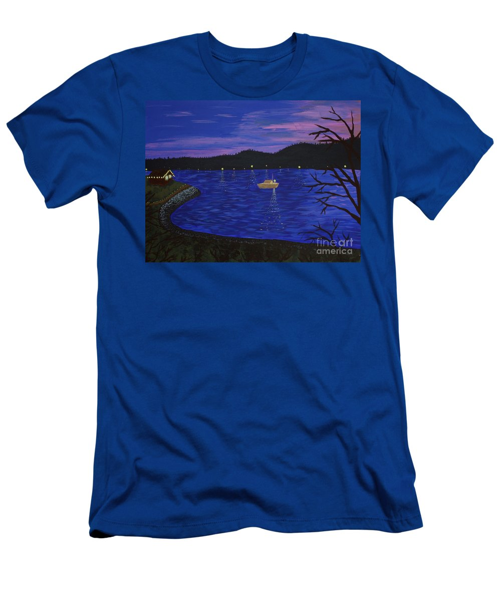 Seattle Men's T-Shirt (Athletic Fit) featuring the painting Dusk On Puget Sound by Vicki Maheu