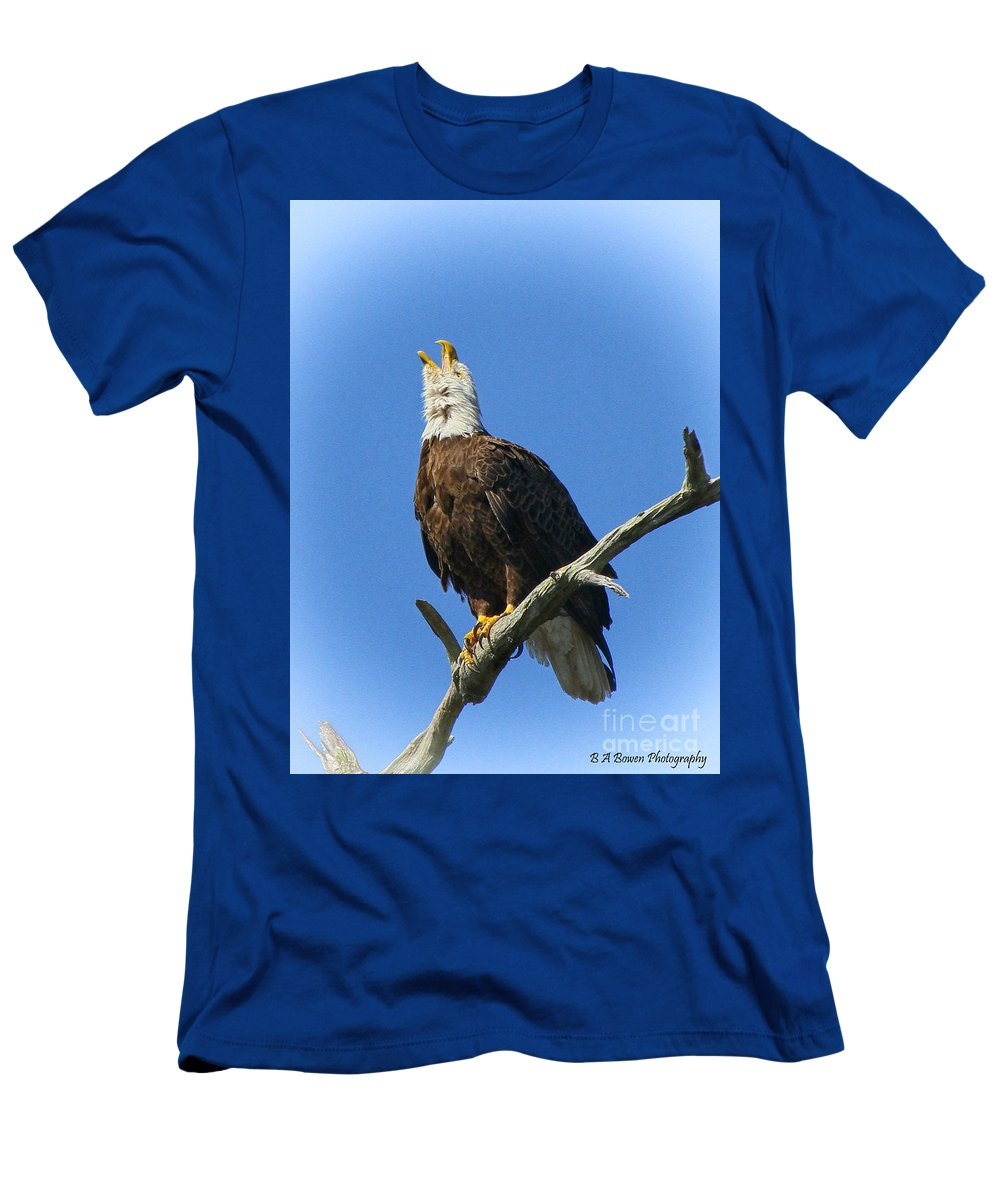 Bald Eagle Men's T-Shirt (Athletic Fit) featuring the photograph Eagle Calling by Barbara Bowen
