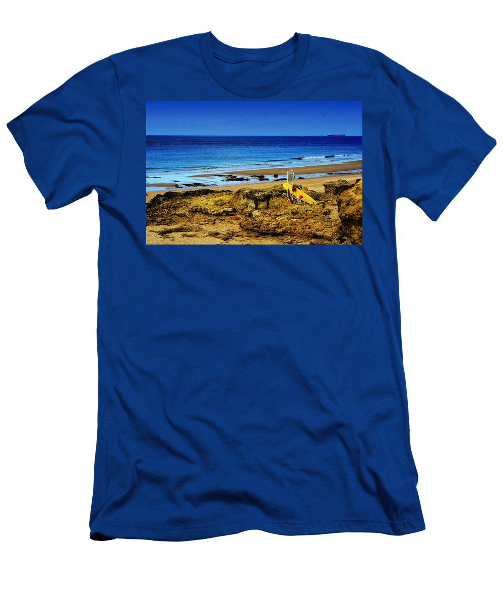 Early Morning On The Beach Men's T-Shirt (Athletic Fit) featuring the photograph Early Morning On The Beach by Marco Oliveira