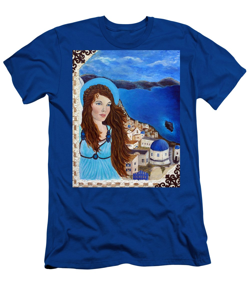 Angel Men's T-Shirt (Athletic Fit) featuring the painting Earthangel Athena by The Art With A Heart By Charlotte Phillips