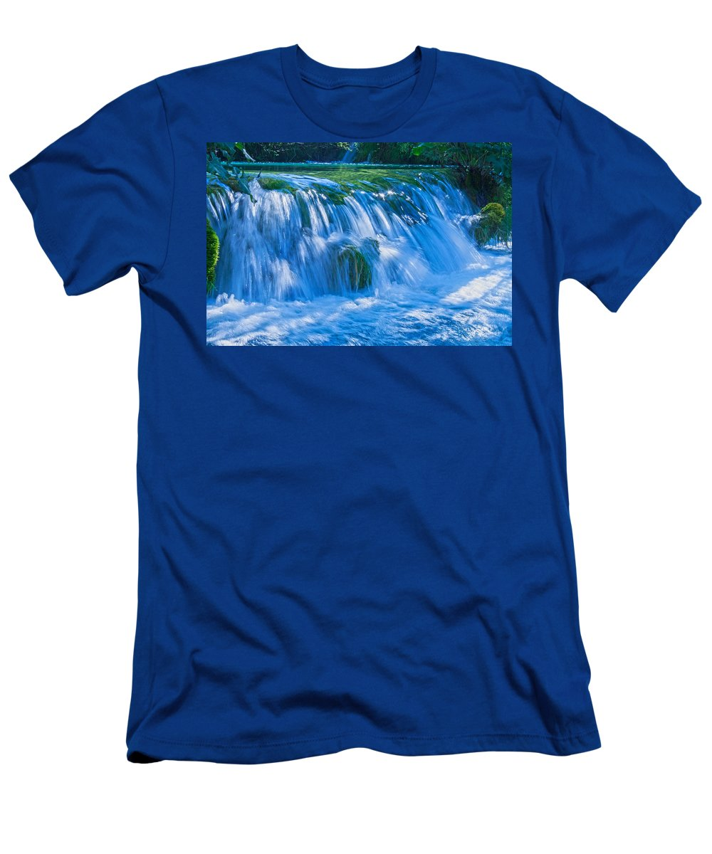 Waterfall Men's T-Shirt (Athletic Fit) featuring the photograph Eden by Daniel Csoka