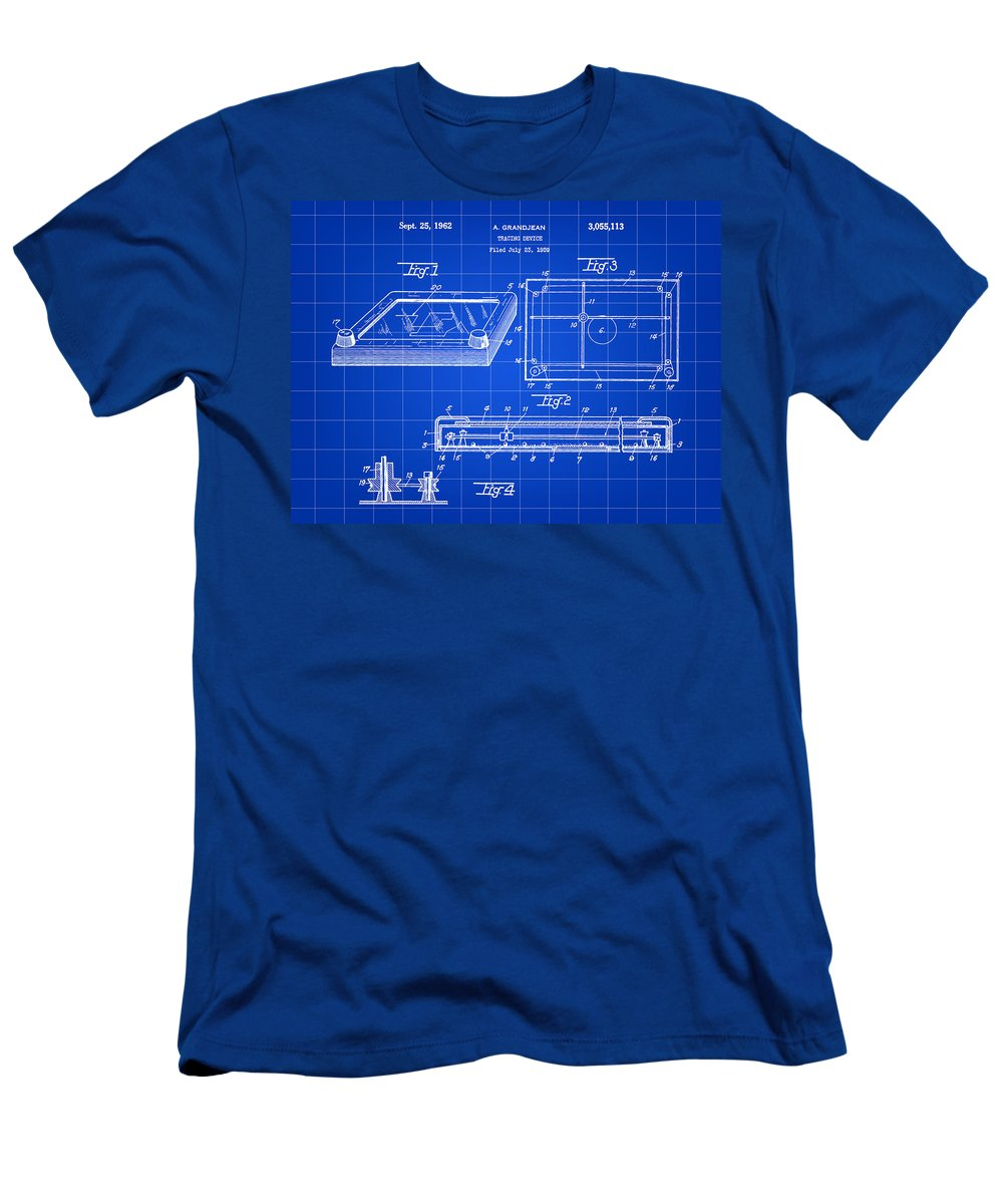 Etch-a-sketch Men's T-Shirt (Athletic Fit) featuring the digital art Etch A Sketch Patent 1959 - Blue by Stephen Younts