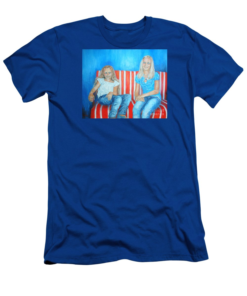 Portrait Of Two Sisters T-Shirt featuring the painting Eva and Antonia by Dagmar Helbig