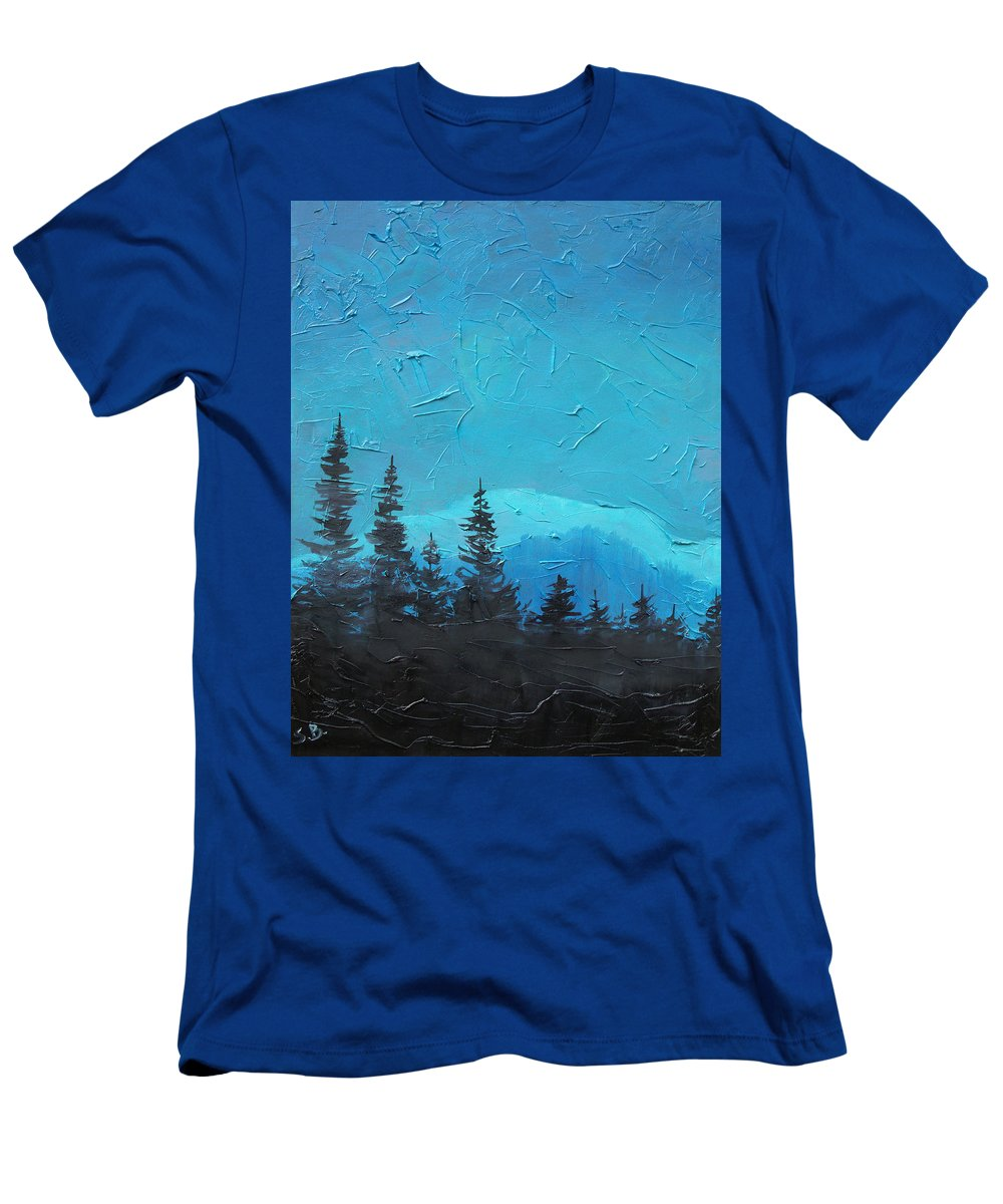 Landscape T-Shirt featuring the painting Evergreen trees by Sergey Bezhinets