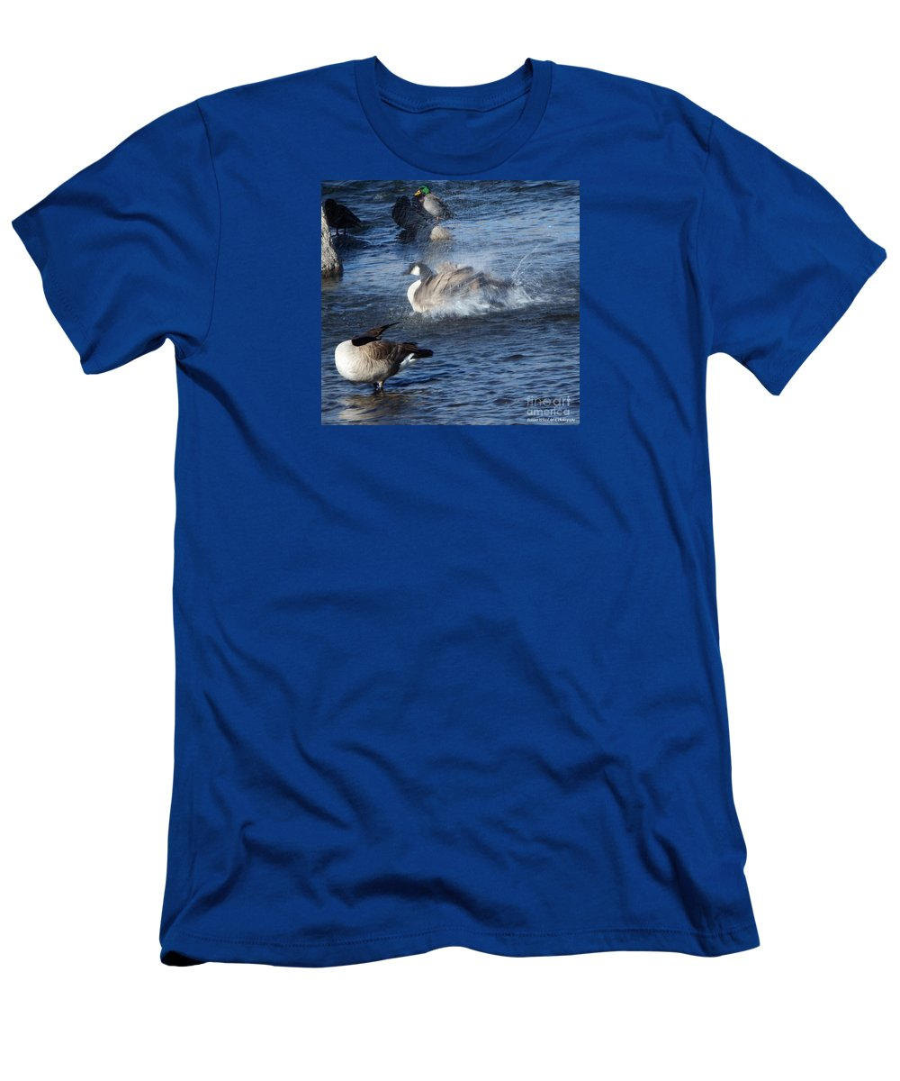 Acrylic Prints Men's T-Shirt (Athletic Fit) featuring the photograph Everyone Duck by Bobbee Rickard