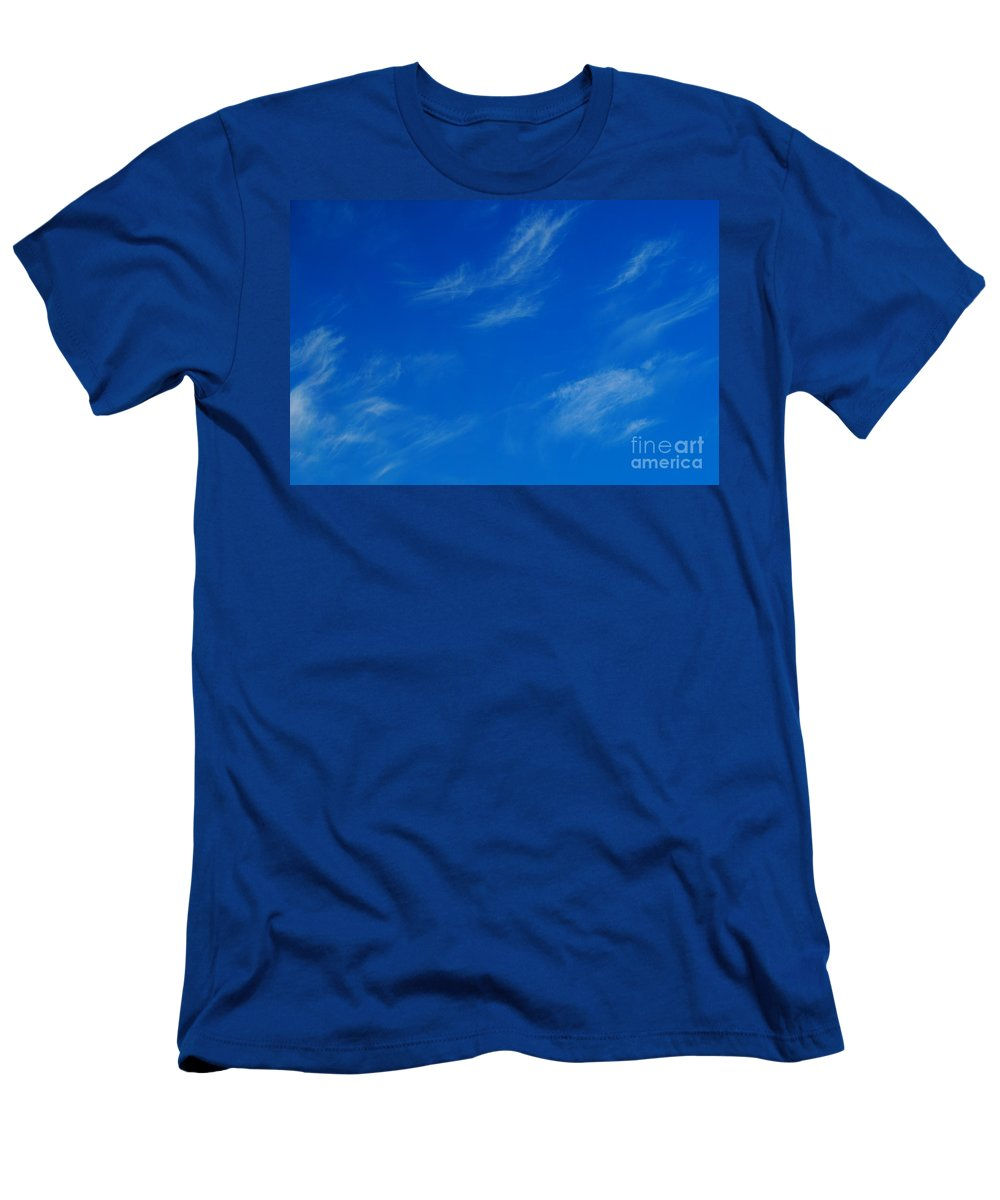 Blue Sky With White Clouds Men's T-Shirt (Athletic Fit) featuring the photograph Faint Clouds by Jeffery L Bowers