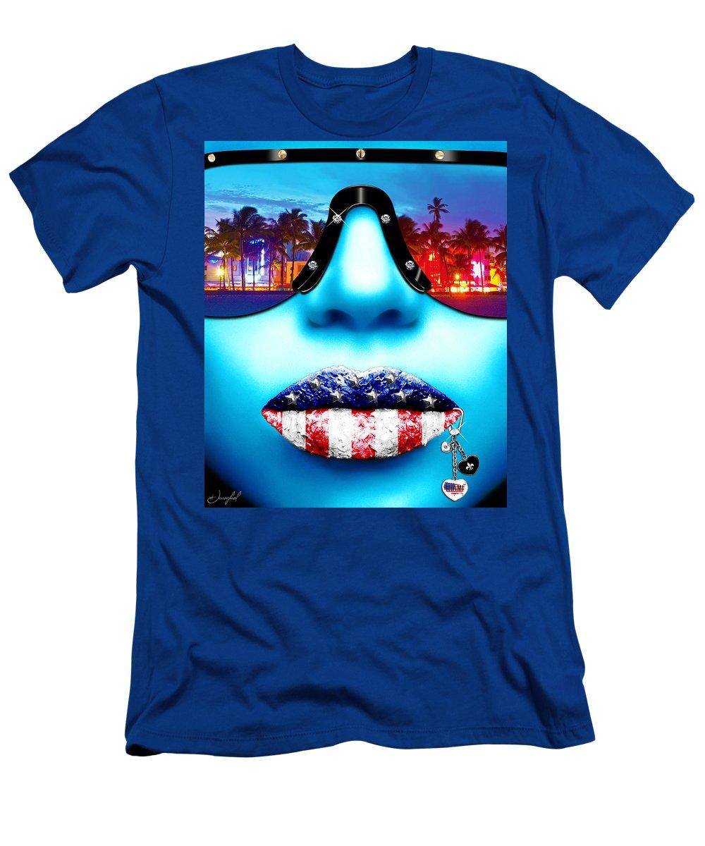 Miami Men's T-Shirt (Athletic Fit) featuring the digital art Fashionista Miami Blue by Jan Raphael