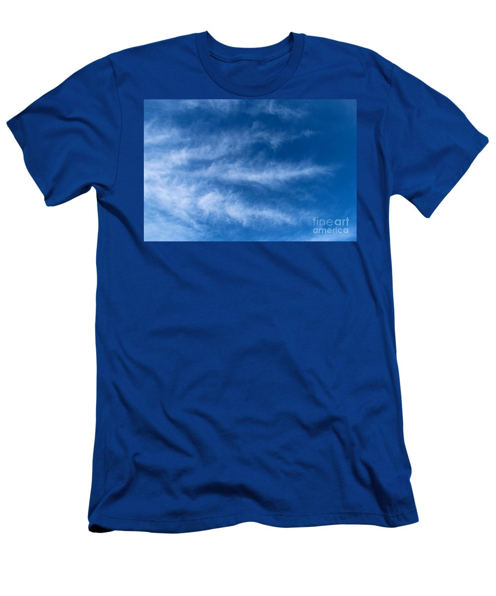 Feather Men's T-Shirt (Athletic Fit) featuring the photograph Feather Clouds On Blue Sky by Kerstin Ivarsson