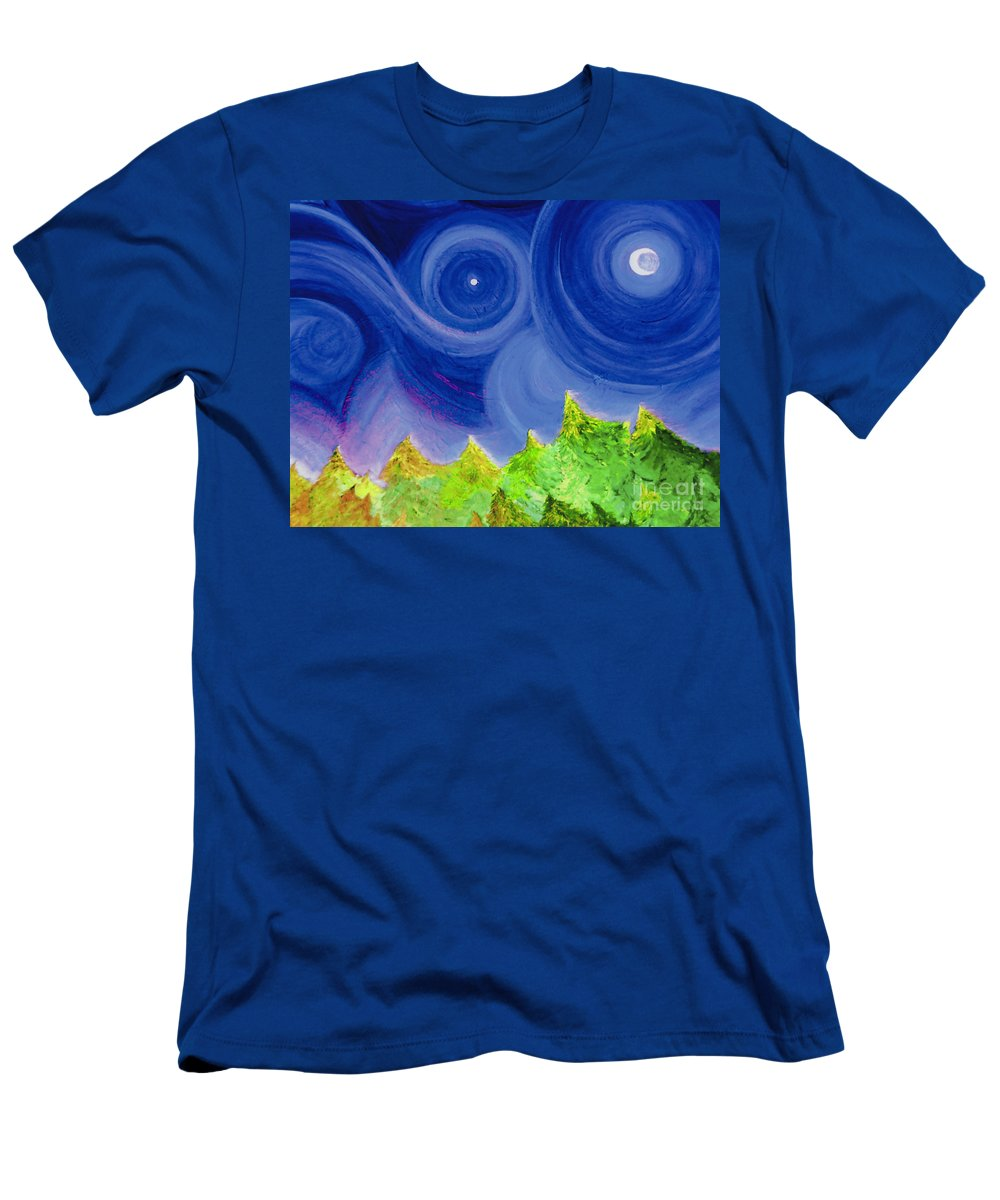 Trees Men's T-Shirt (Athletic Fit) featuring the painting First Star By Jrr by First Star Art