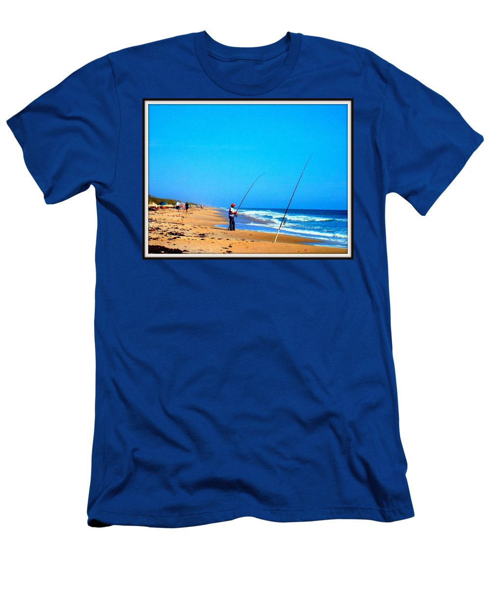 Blue Men's T-Shirt (Athletic Fit) featuring the photograph Fisherman by Victoria Beasley