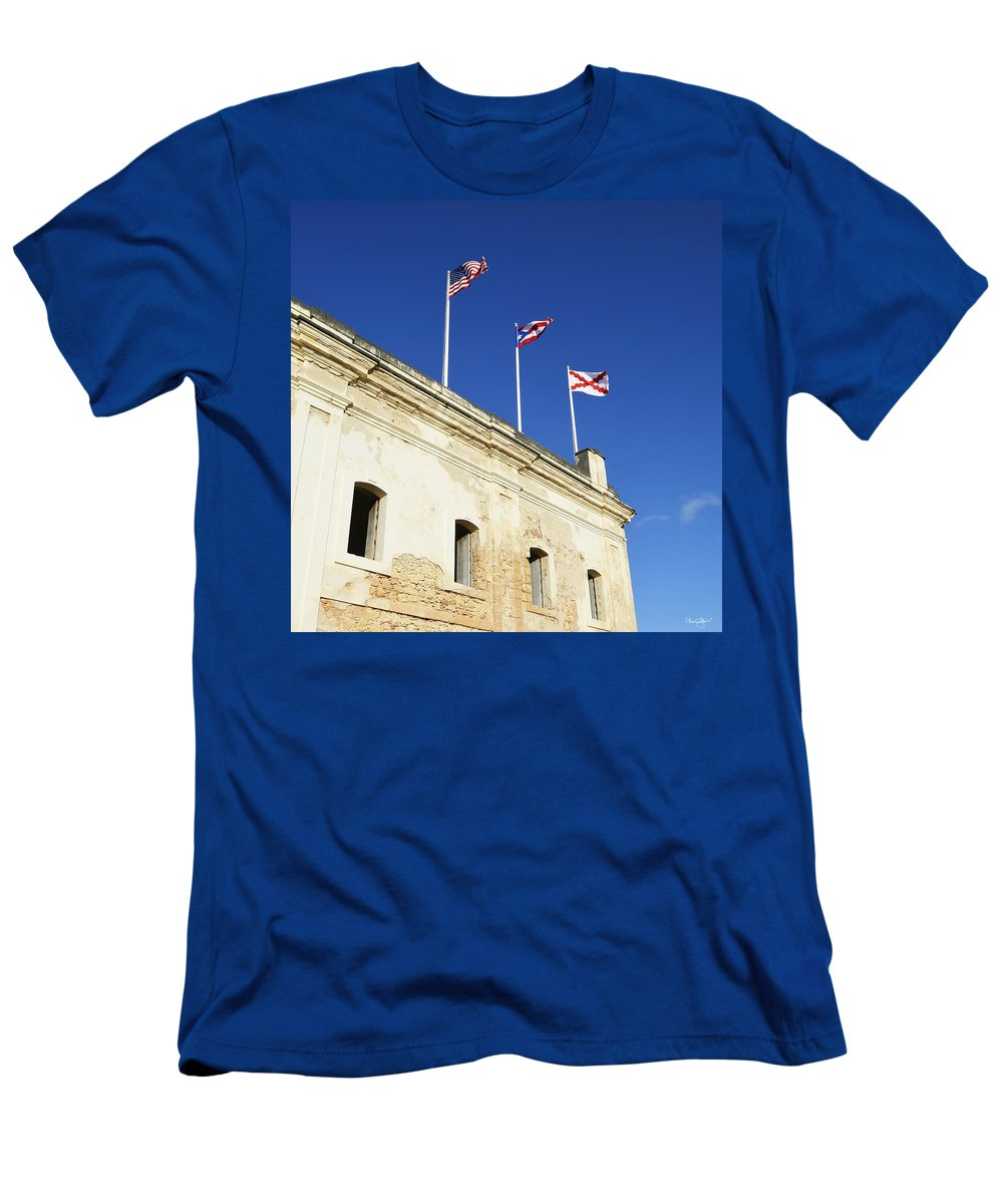 San Christobal Men's T-Shirt (Athletic Fit) featuring the photograph Flags Of San Christobal by Shanna Hyatt