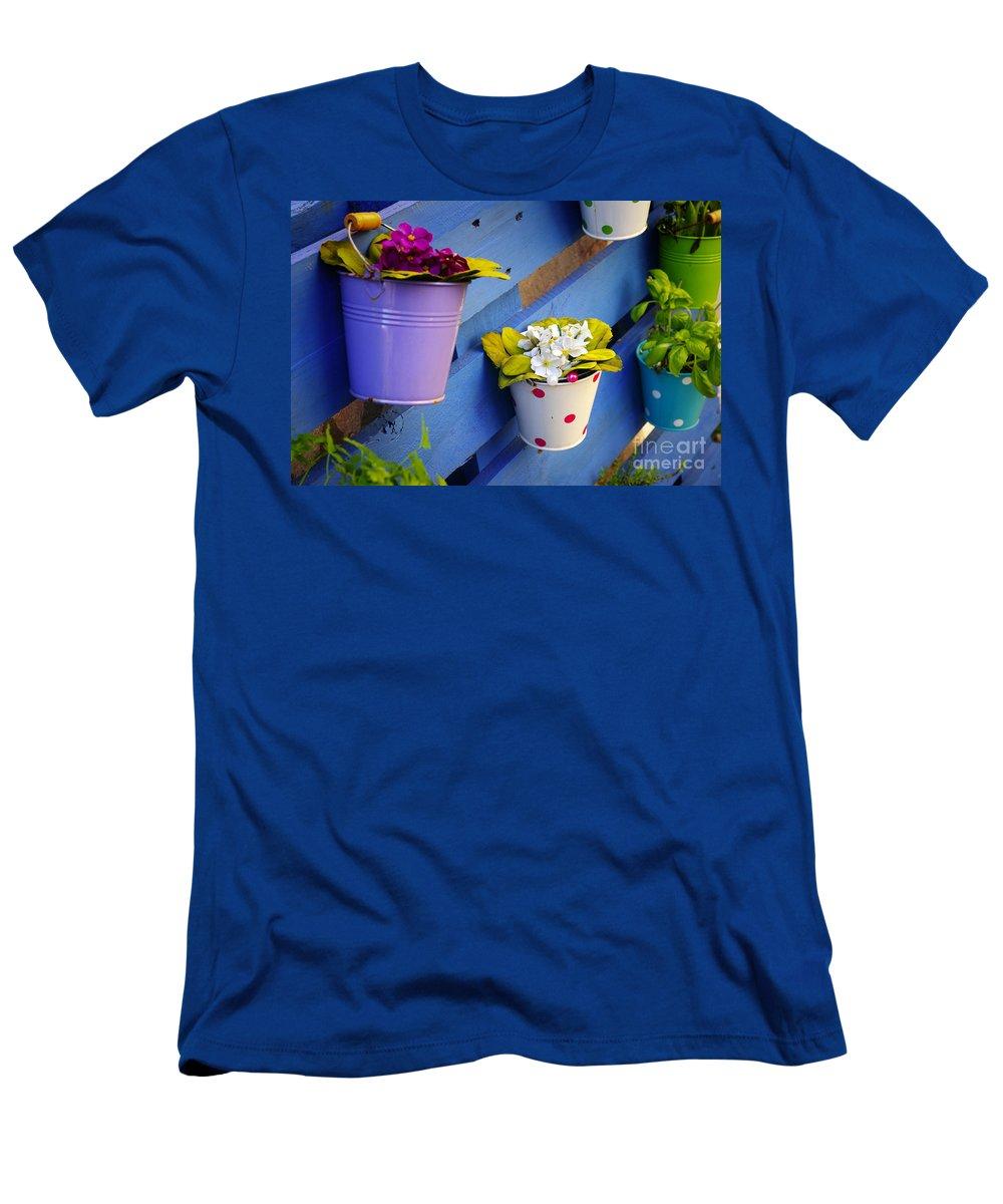 Arrangement Men's T-Shirt (Athletic Fit) featuring the photograph Flower Baskets by Carlos Caetano