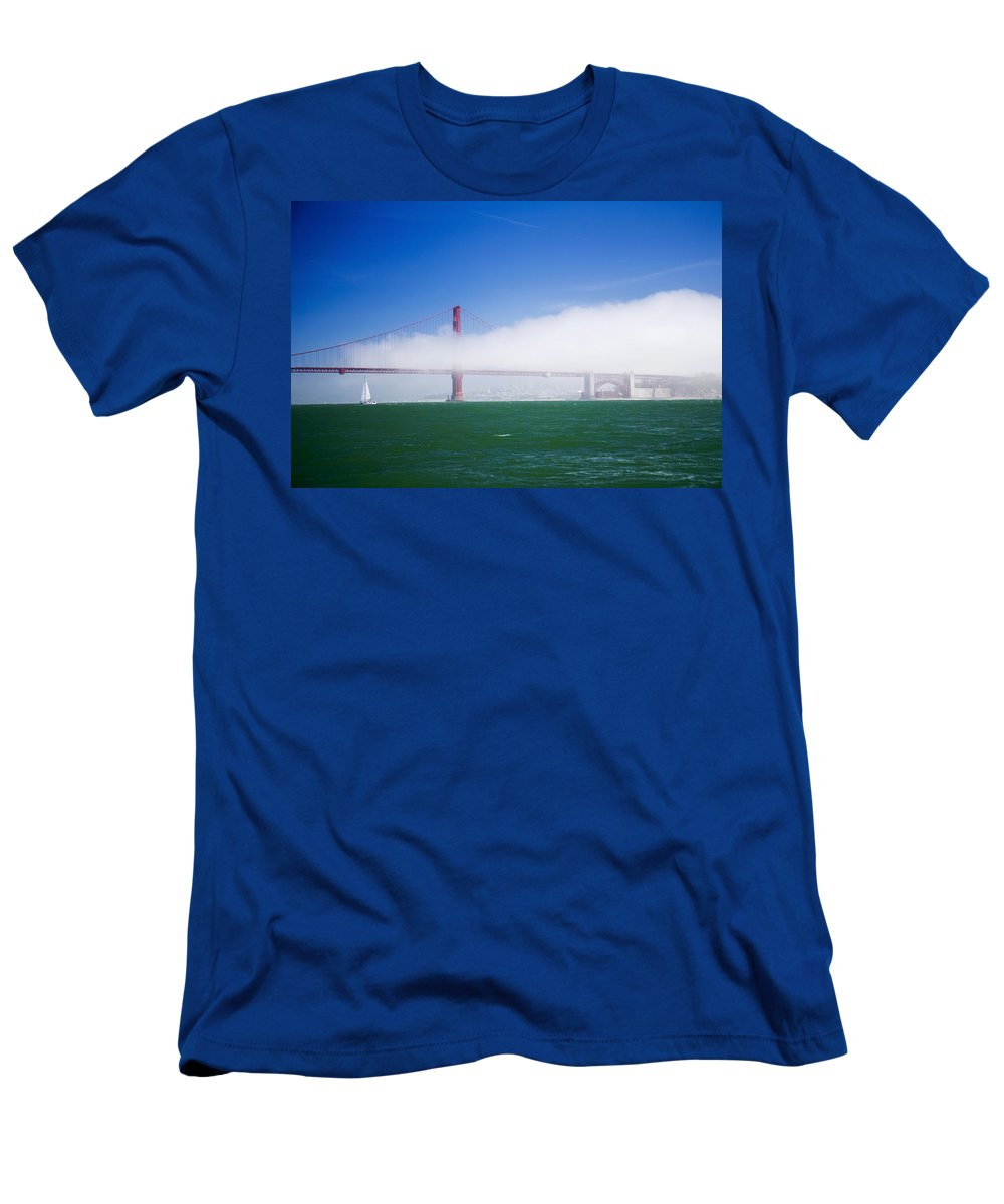 Fog Men's T-Shirt (Athletic Fit) featuring the photograph Fog On The Bridge by Hugh Stickney