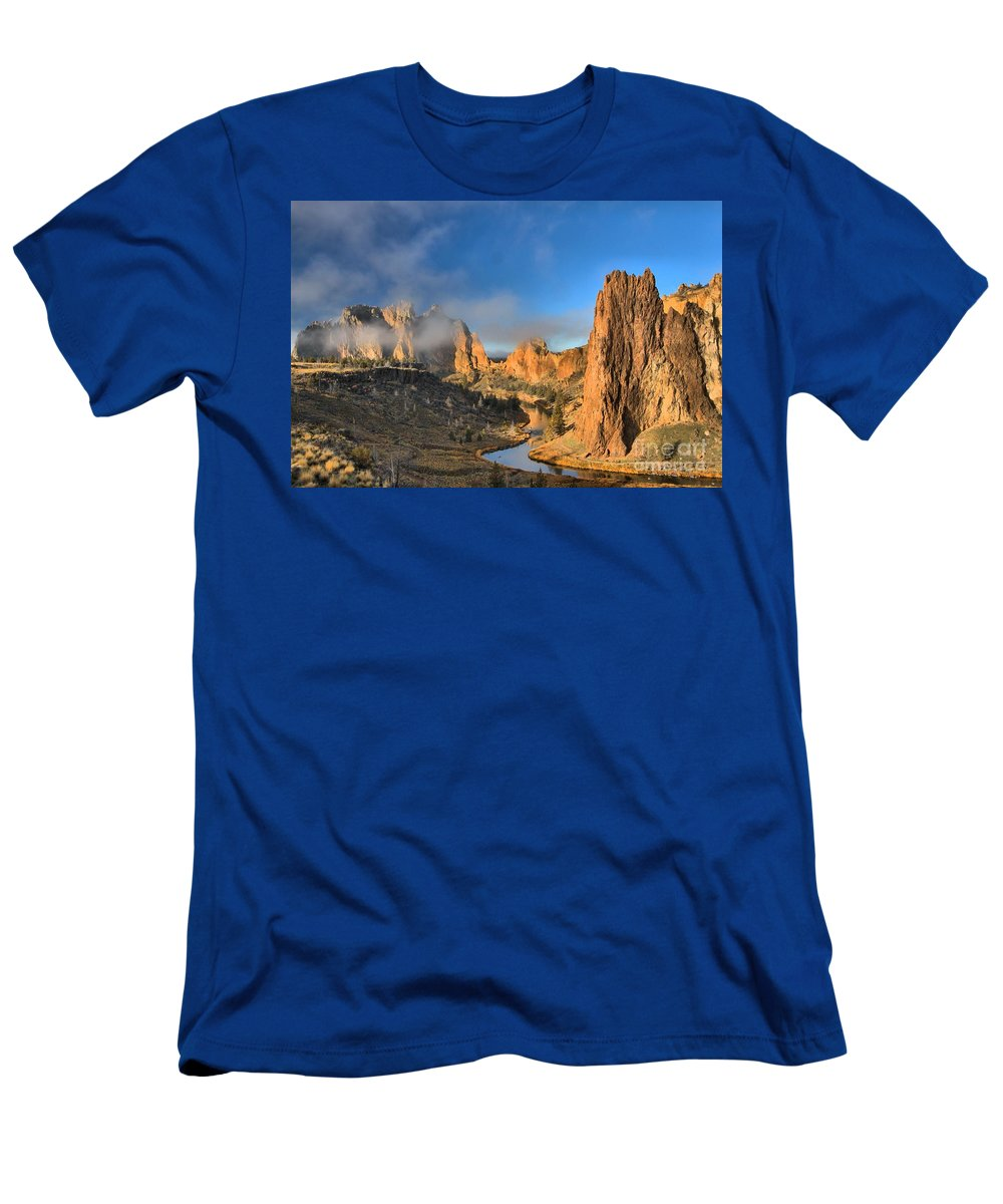 Smith Rock Men's T-Shirt (Athletic Fit) featuring the photograph Fog Over Smith Rock by Adam Jewell